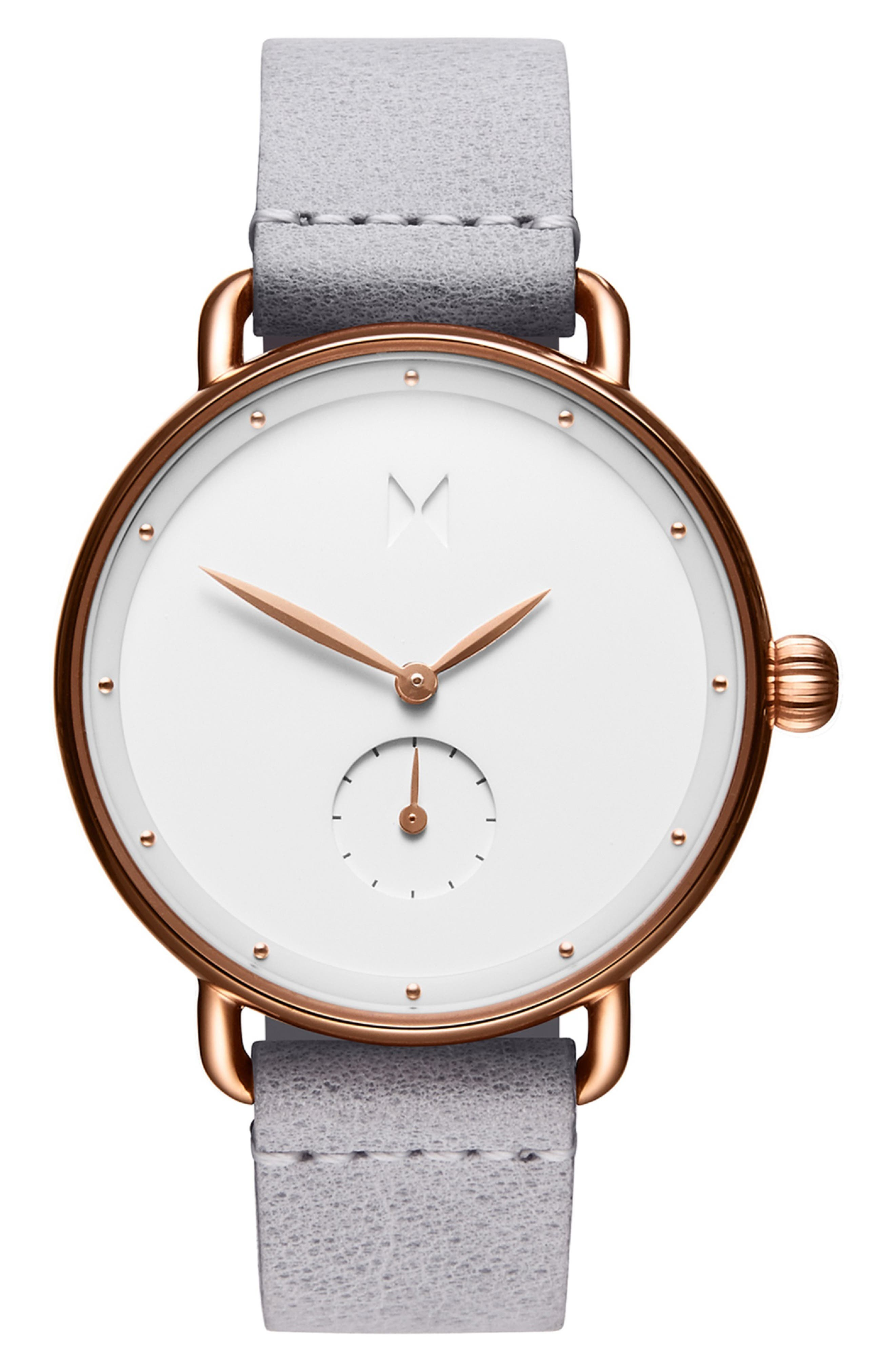 MVMT Bloom Leather Strap Watch, 36mm, Main, color, GREY/ WHITE/ ROSE GOLD