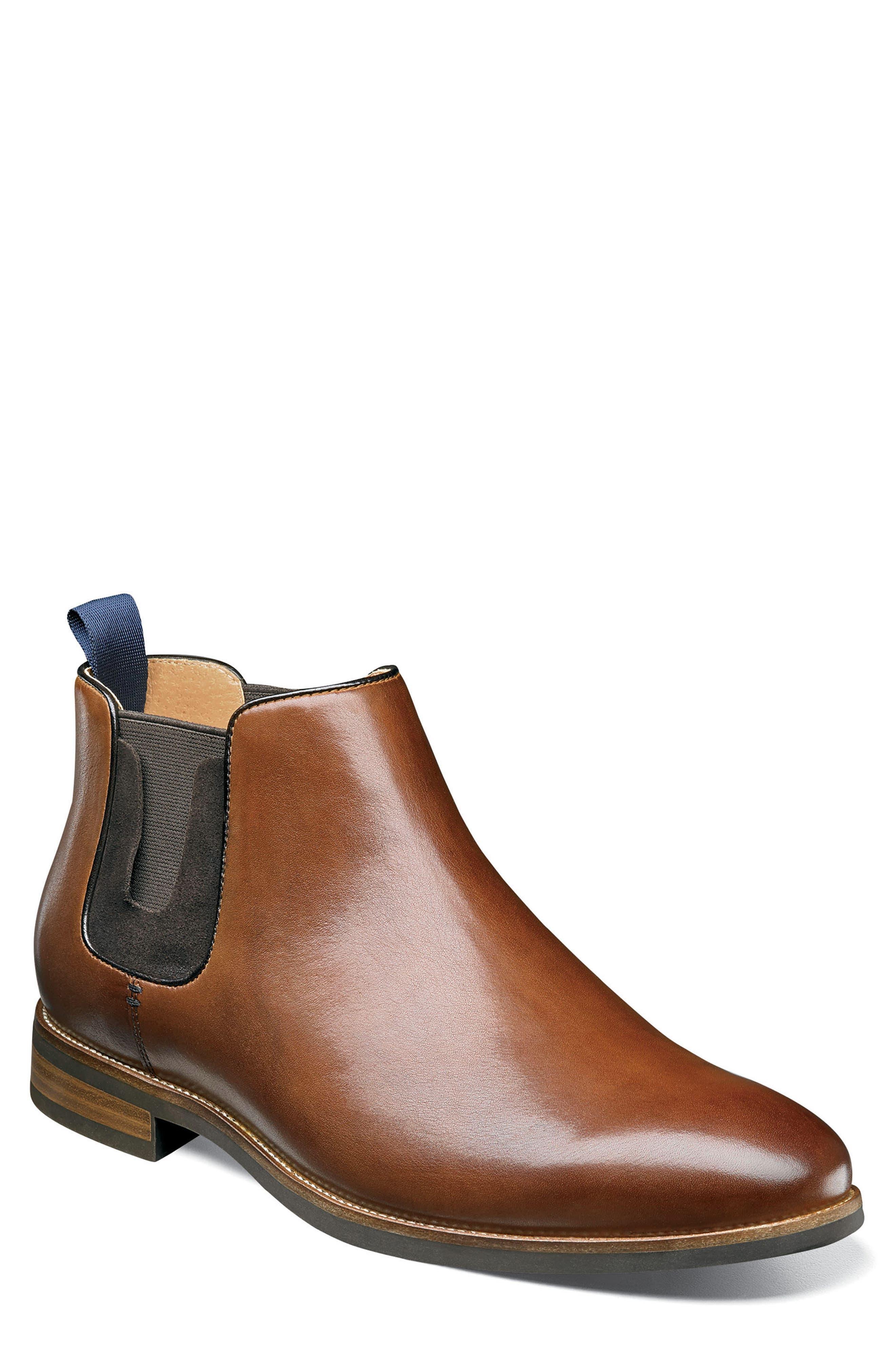 FLORSHEIM, Uptown Plain Toe Mid Chelsea Boot, Main thumbnail 1, color, COGNAC LEATHER