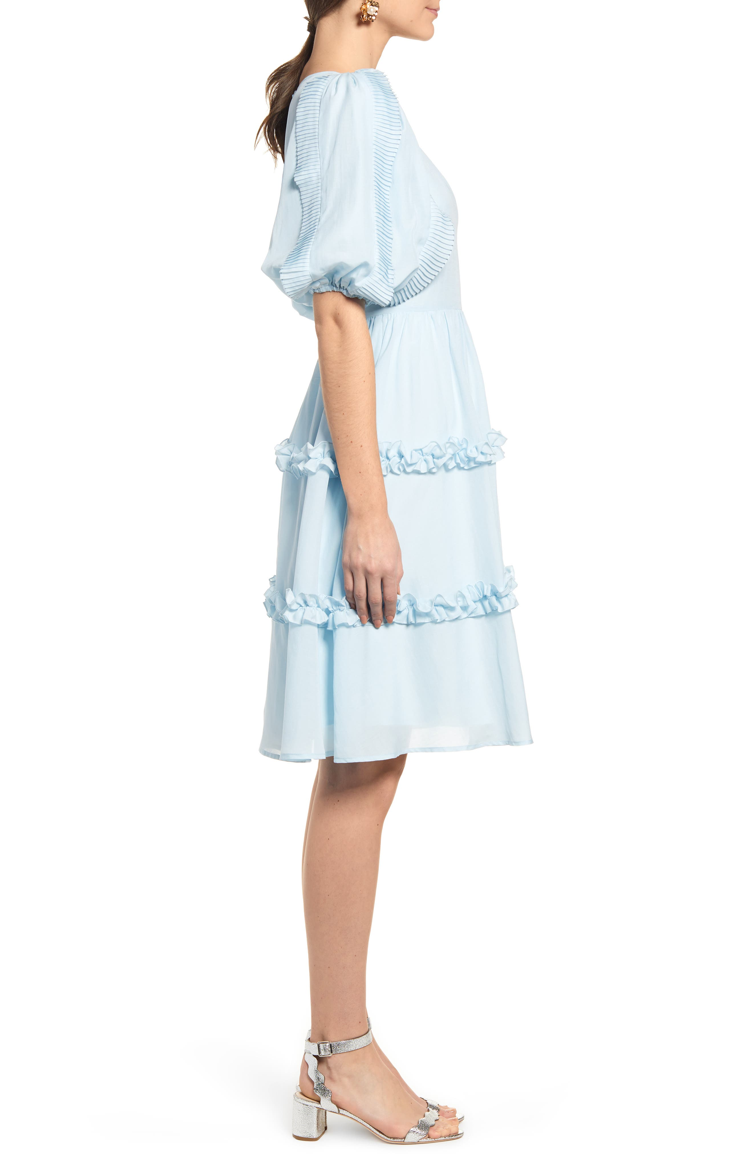 RACHEL PARCELL, Ruffle Sleeve Dress, Alternate thumbnail 4, color, BLUE WINTER