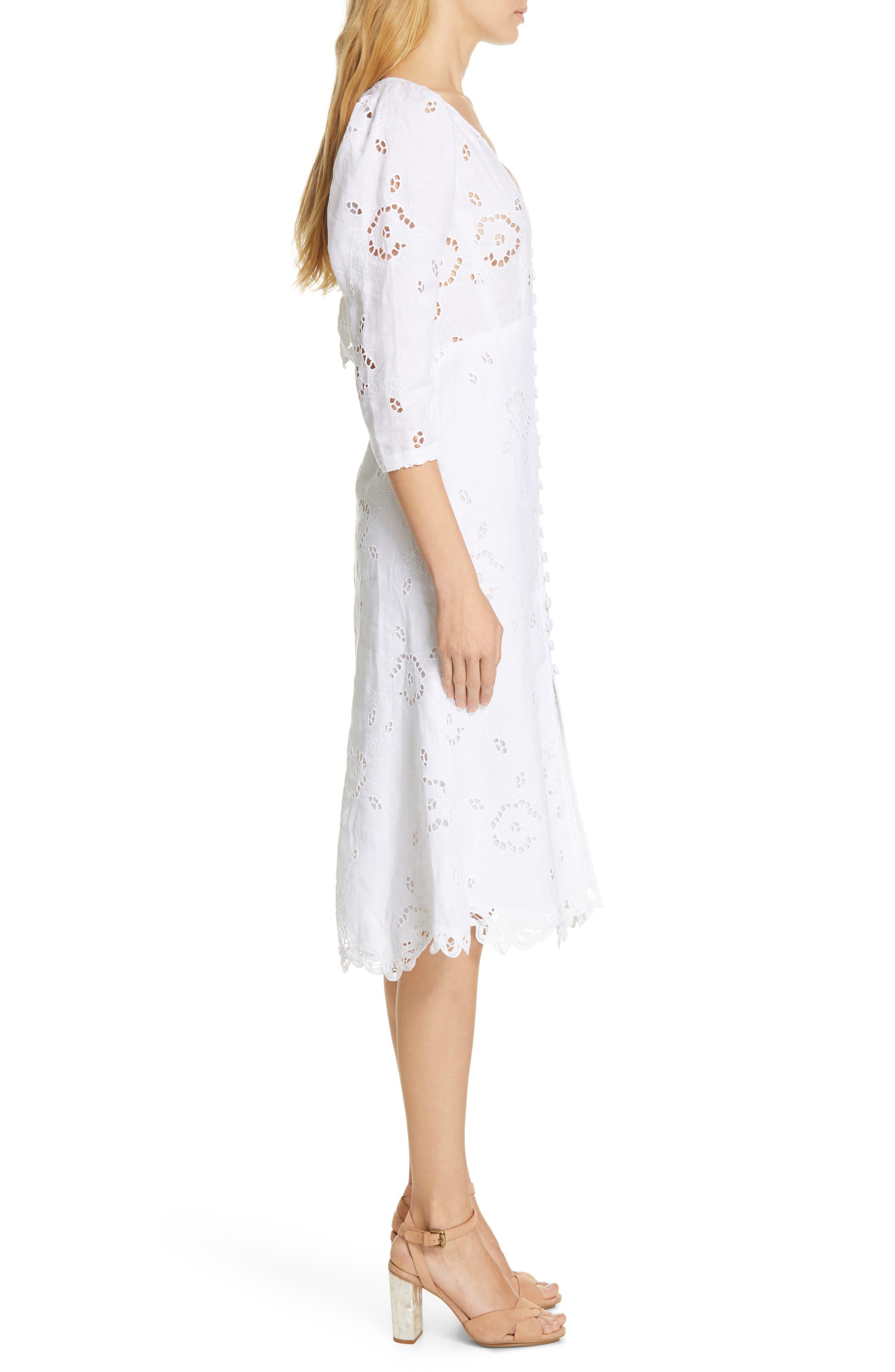 REBECCA TAYLOR, Terri Embroidered A-Line Dress, Alternate thumbnail 4, color, MILK