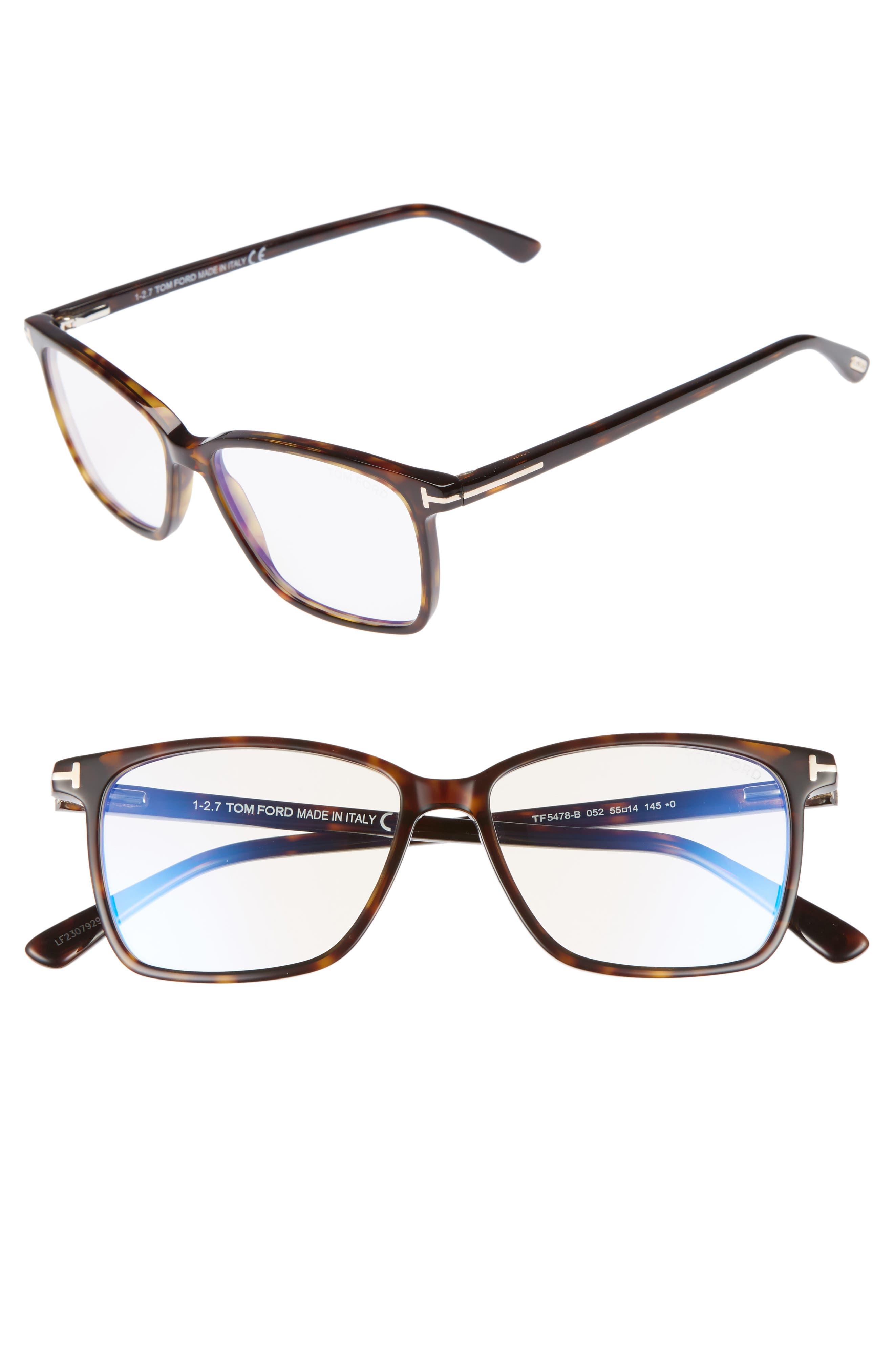 TOM FORD, 55mm Blue Block Optical Glasses, Main thumbnail 1, color, DARK HAVANA/ BLUE