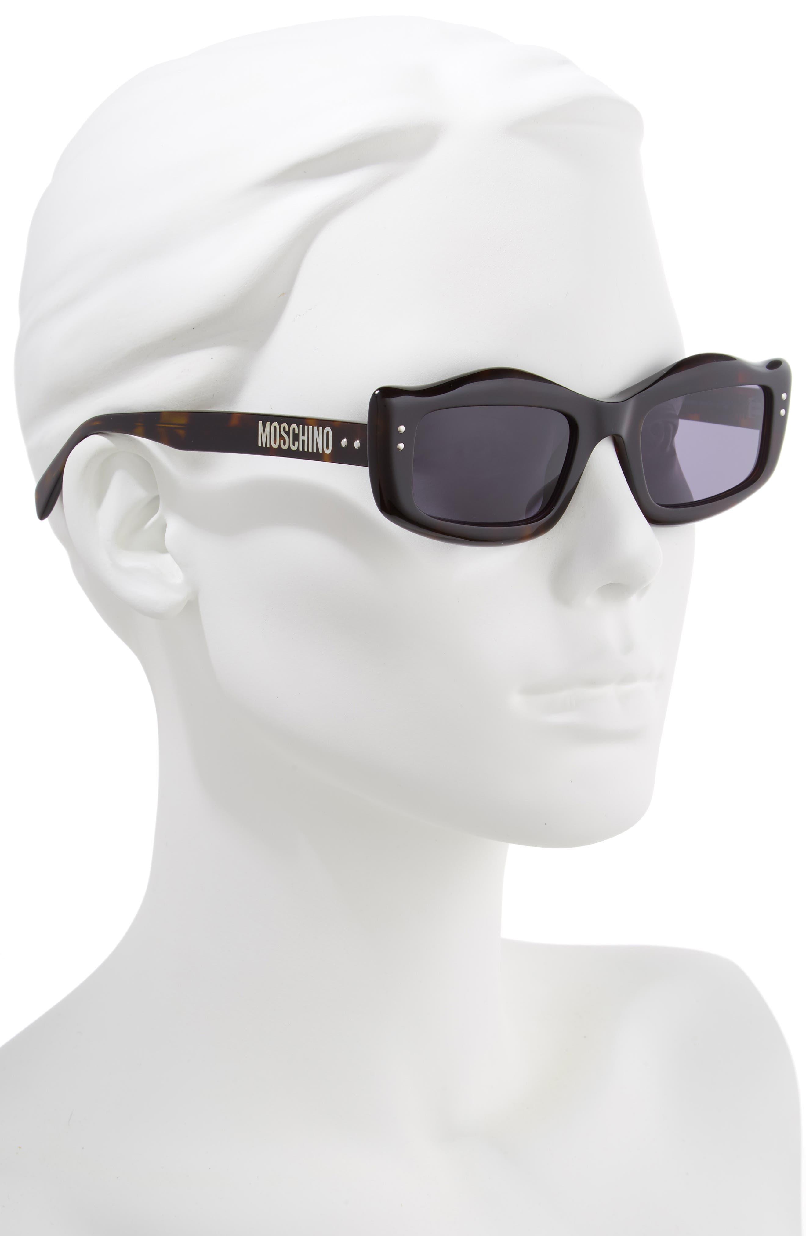 MOSCHINO, 51mm Rectangle Sunglasses, Alternate thumbnail 2, color, DARK HAVANA
