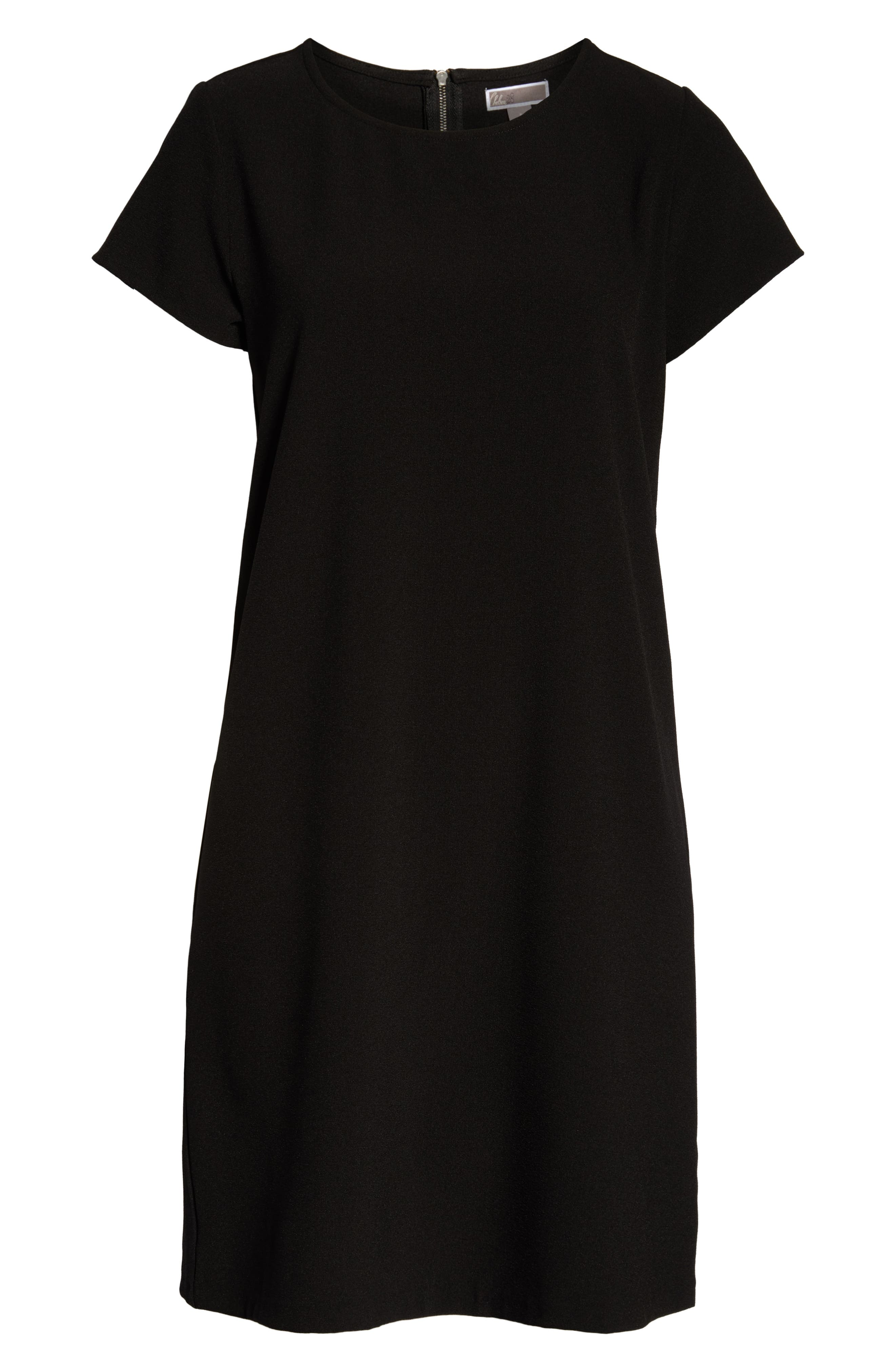 CHELSEA28, Crepe Shift Dress, Alternate thumbnail 8, color, BLACK
