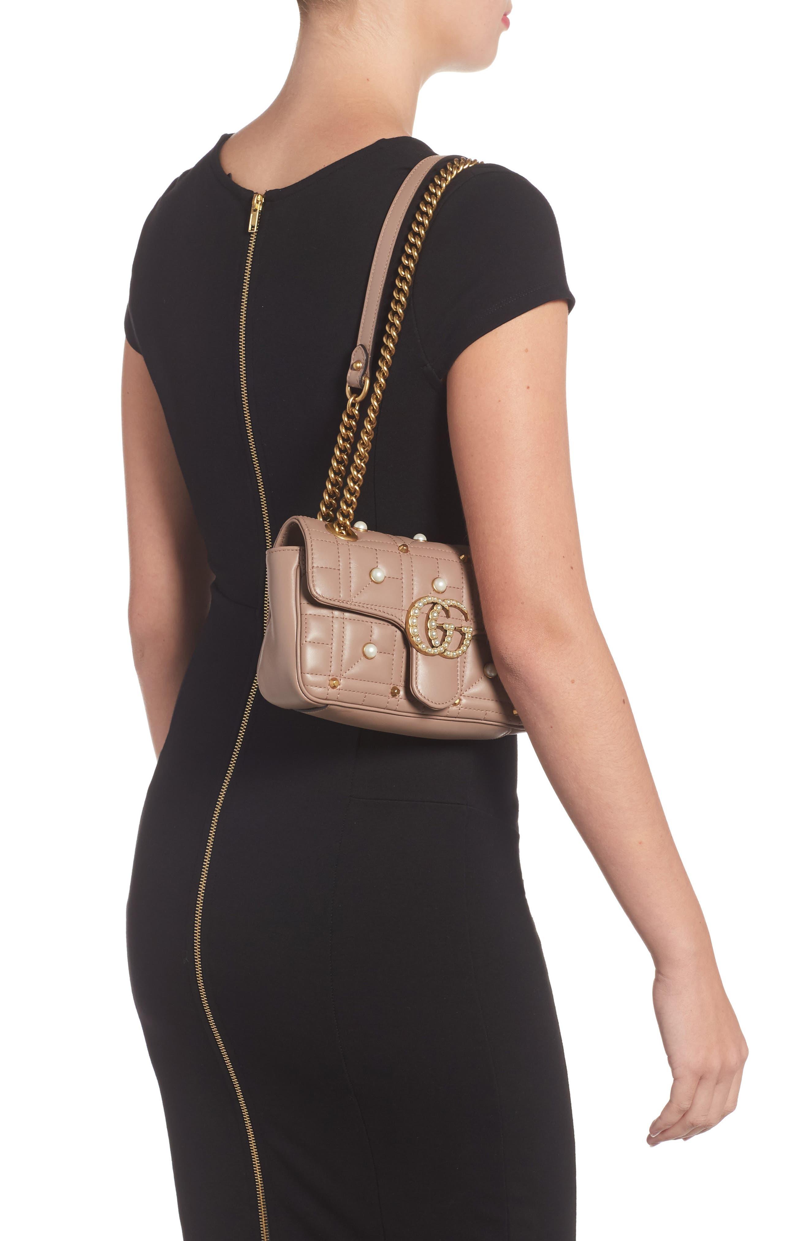 GUCCI, Mini GG Marmont 2.0 Imitation Pearl Logo Matelassé Leather Shoulder Bag, Alternate thumbnail 2, color, 651
