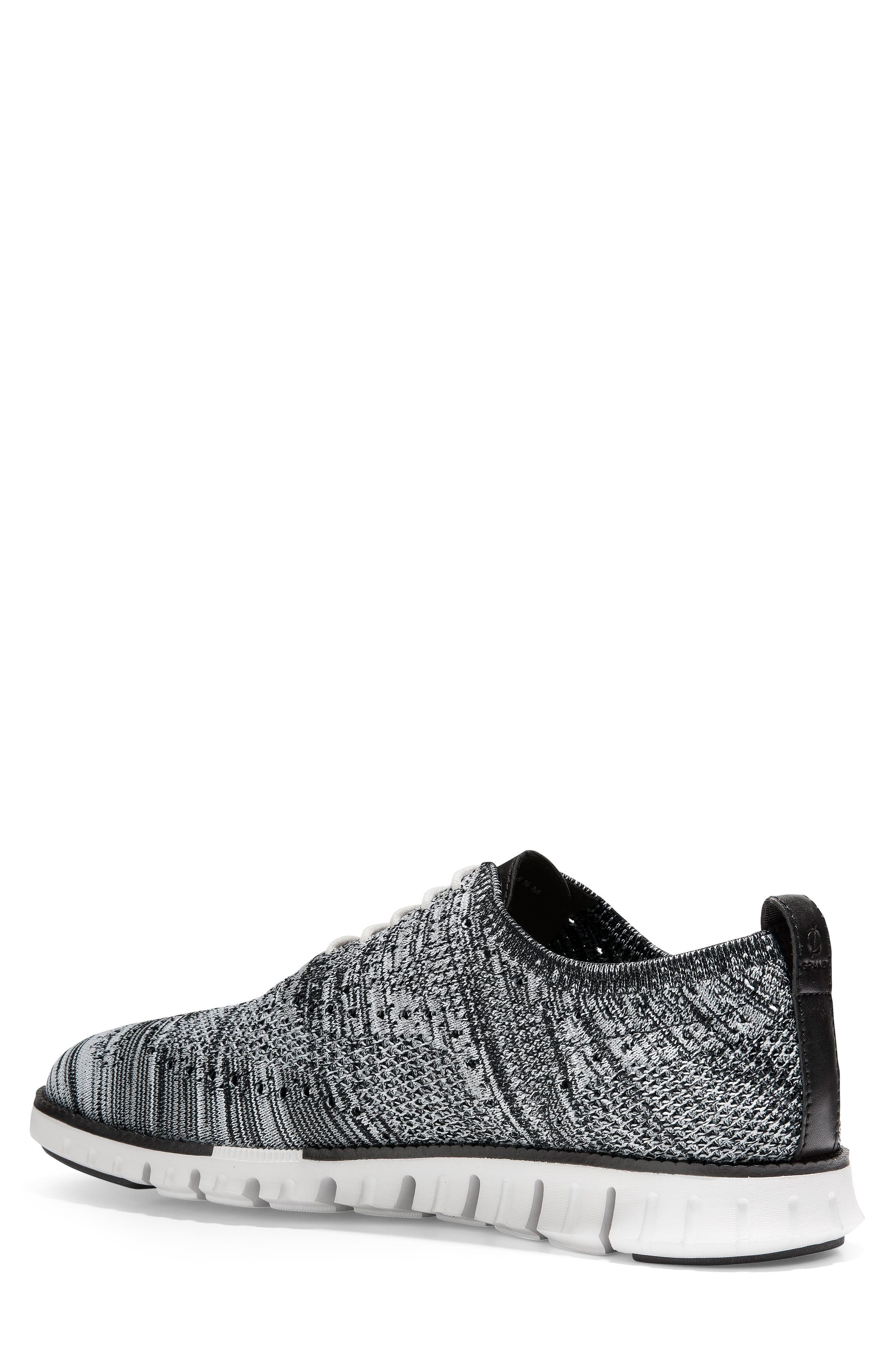 COLE HAAN, ZeroGrand Stitchlite Oxford, Alternate thumbnail 2, color, BLACK/ OPTIC WHITE/ SLEET KNIT