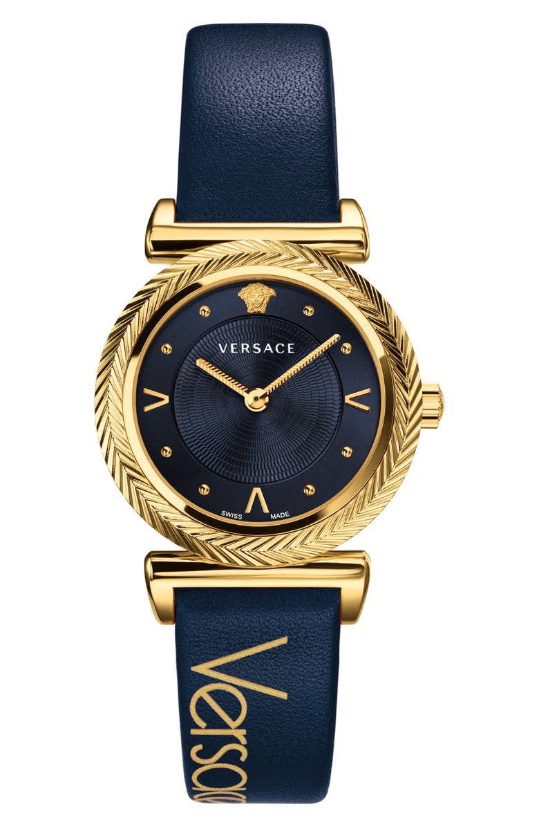 1a10f28c17 V Motif Leather Strap Watch, 35Mm in Navy Blue/ Gold