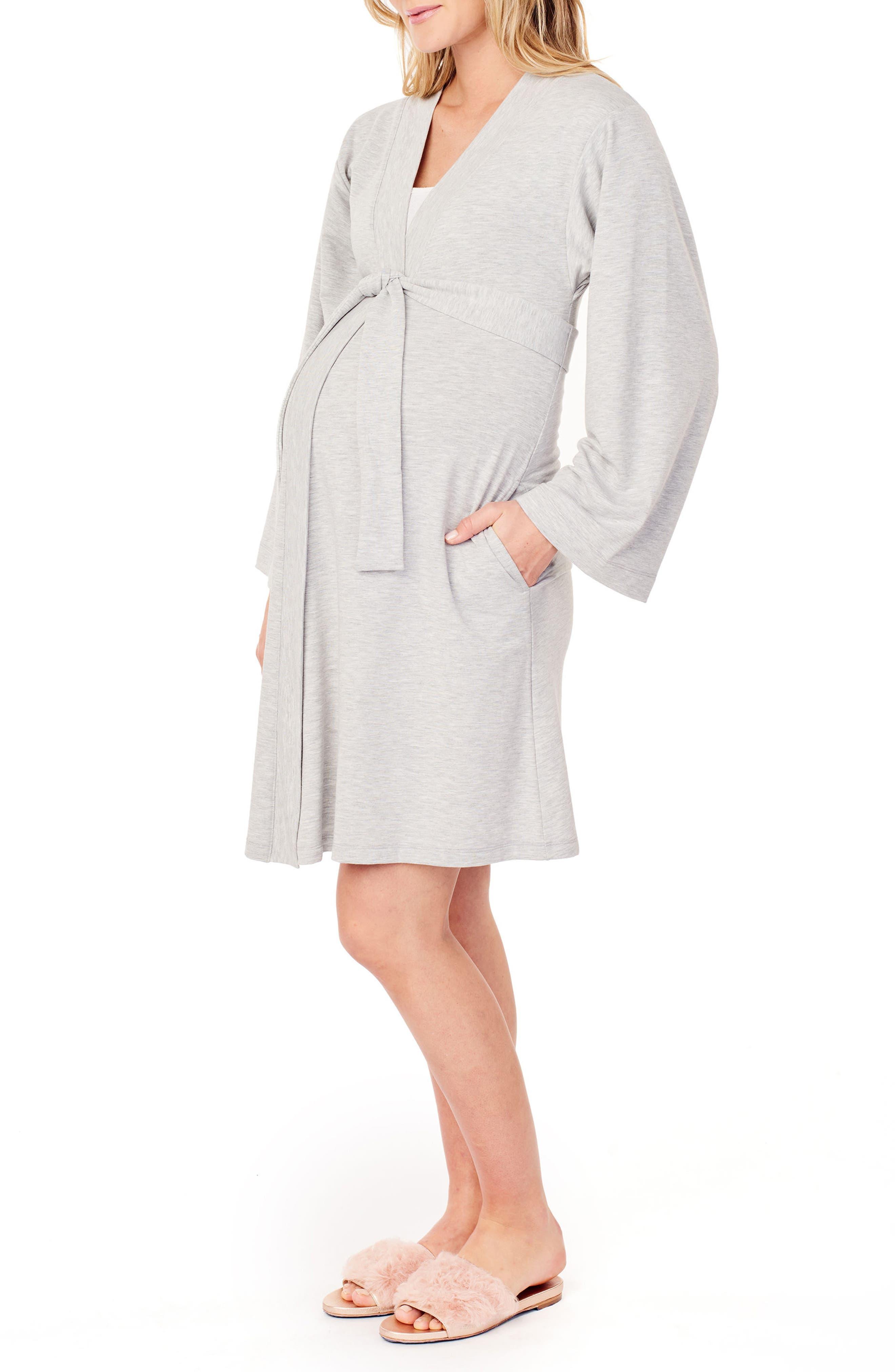 INGRID & ISABEL<SUP>®</SUP>, Kimono Lounge Maternity Robe, Alternate thumbnail 3, color, LIGHT HEATHER GREY