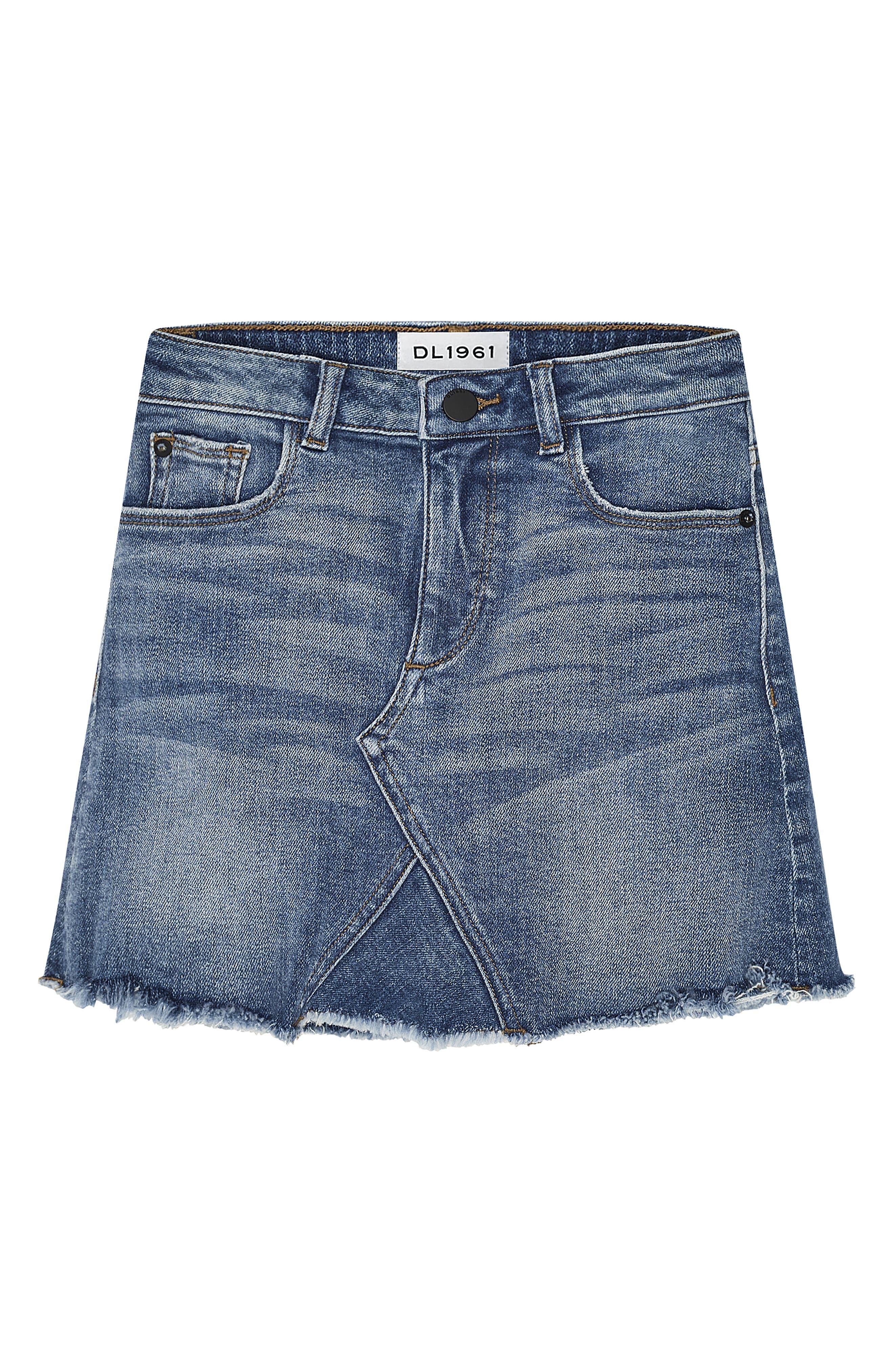 DL1961 Denim Miniskirt, Main, color, BLUE ROSE