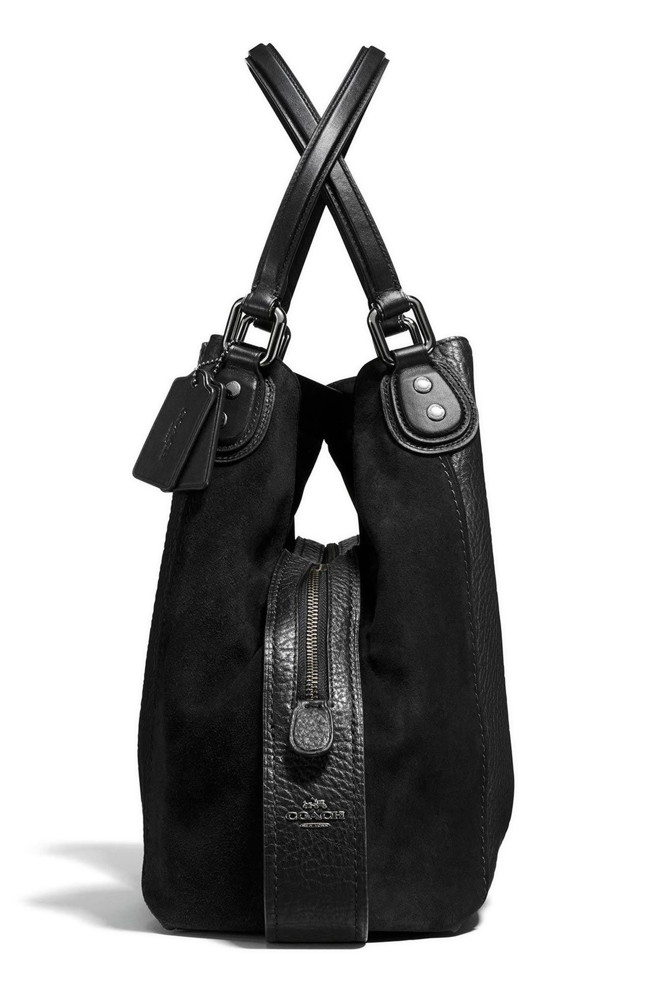 COACH, Edie 42 Leather & Suede Shoulder Bag, Alternate thumbnail 5, color, BLACK