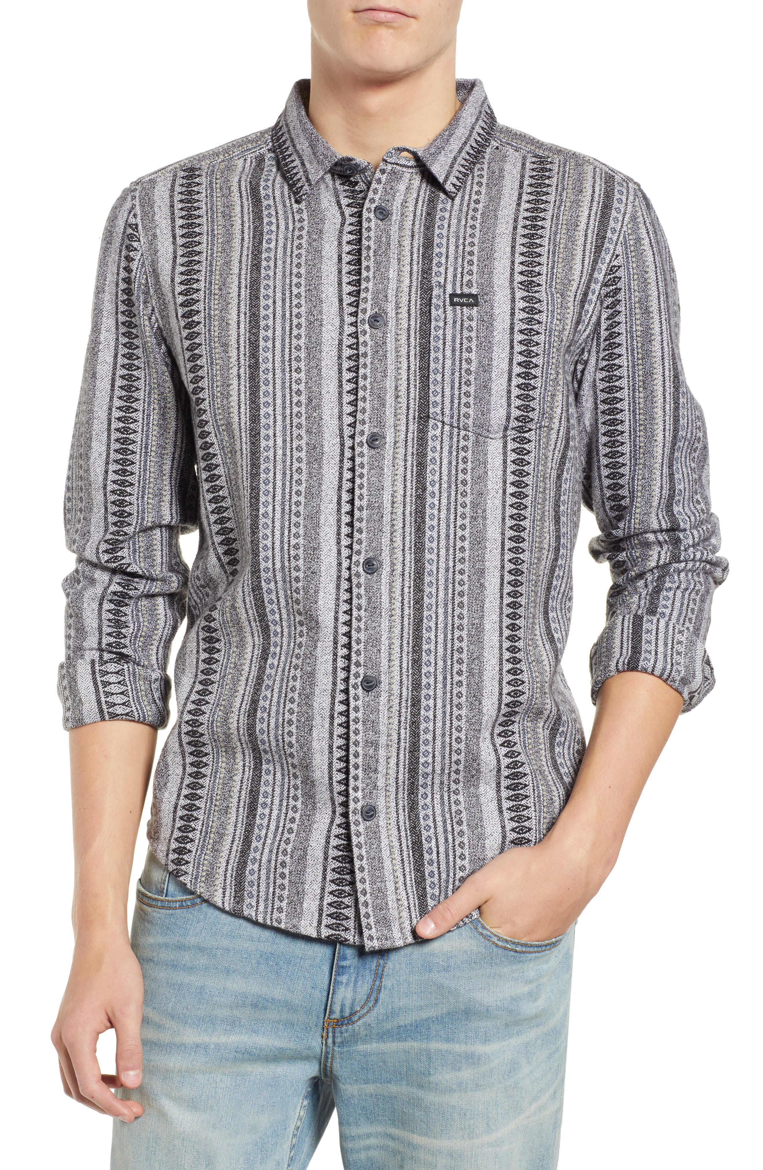 RVCA, Small Victory Woven Shirt, Main thumbnail 1, color, SMOKEY GREY HEATHER