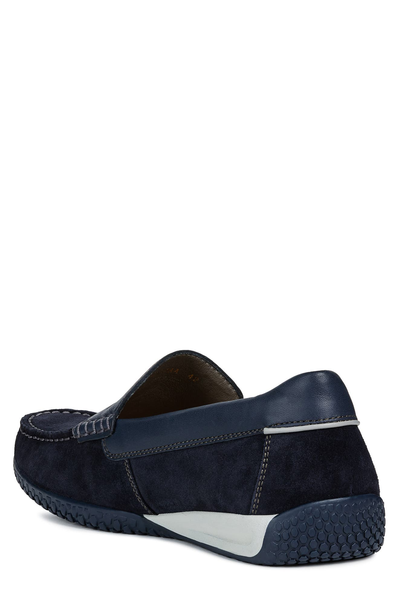 GEOX, Delrick 2 Slip-On, Alternate thumbnail 2, color, NAVY SUEDE/ LEATHER
