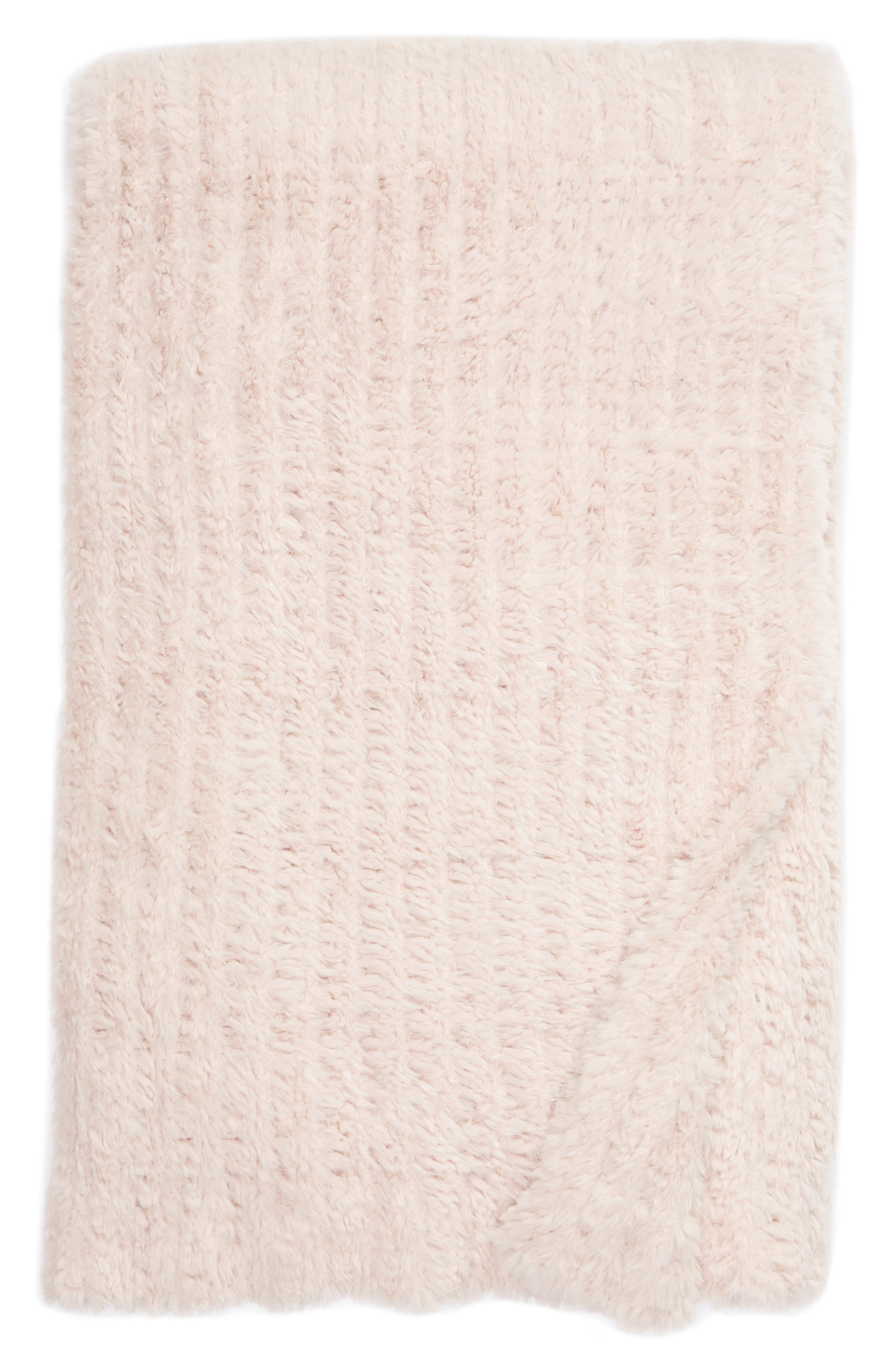 NORDSTROM AT HOME, Lazy Days Faux Fur Throw Blanket, Main thumbnail 1, color, PINK FROSTY