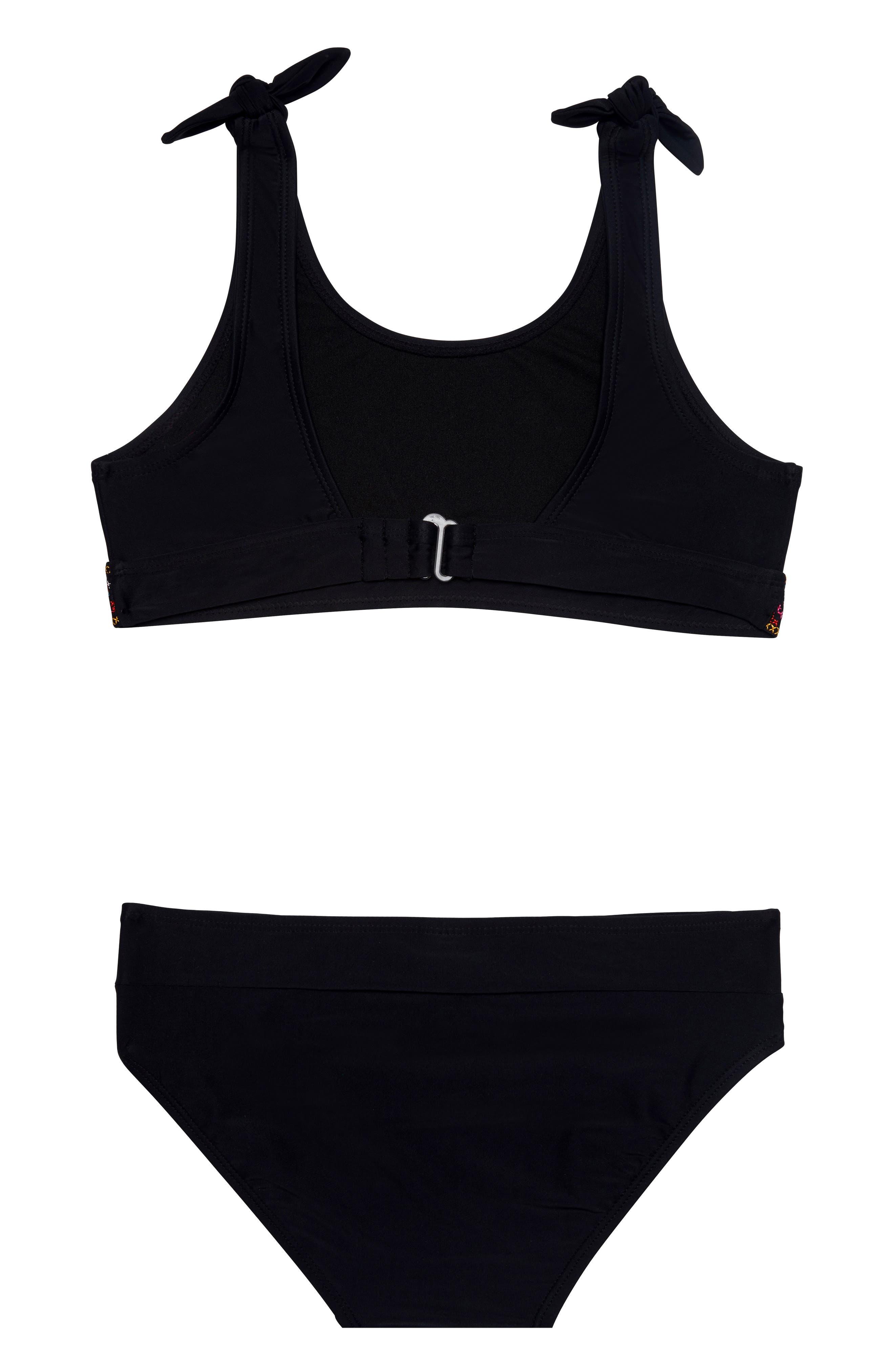 GOSSIP GIRL, Mini Cross Road Two-Piece Swimsuit, Alternate thumbnail 2, color, BLACK/ MULTI