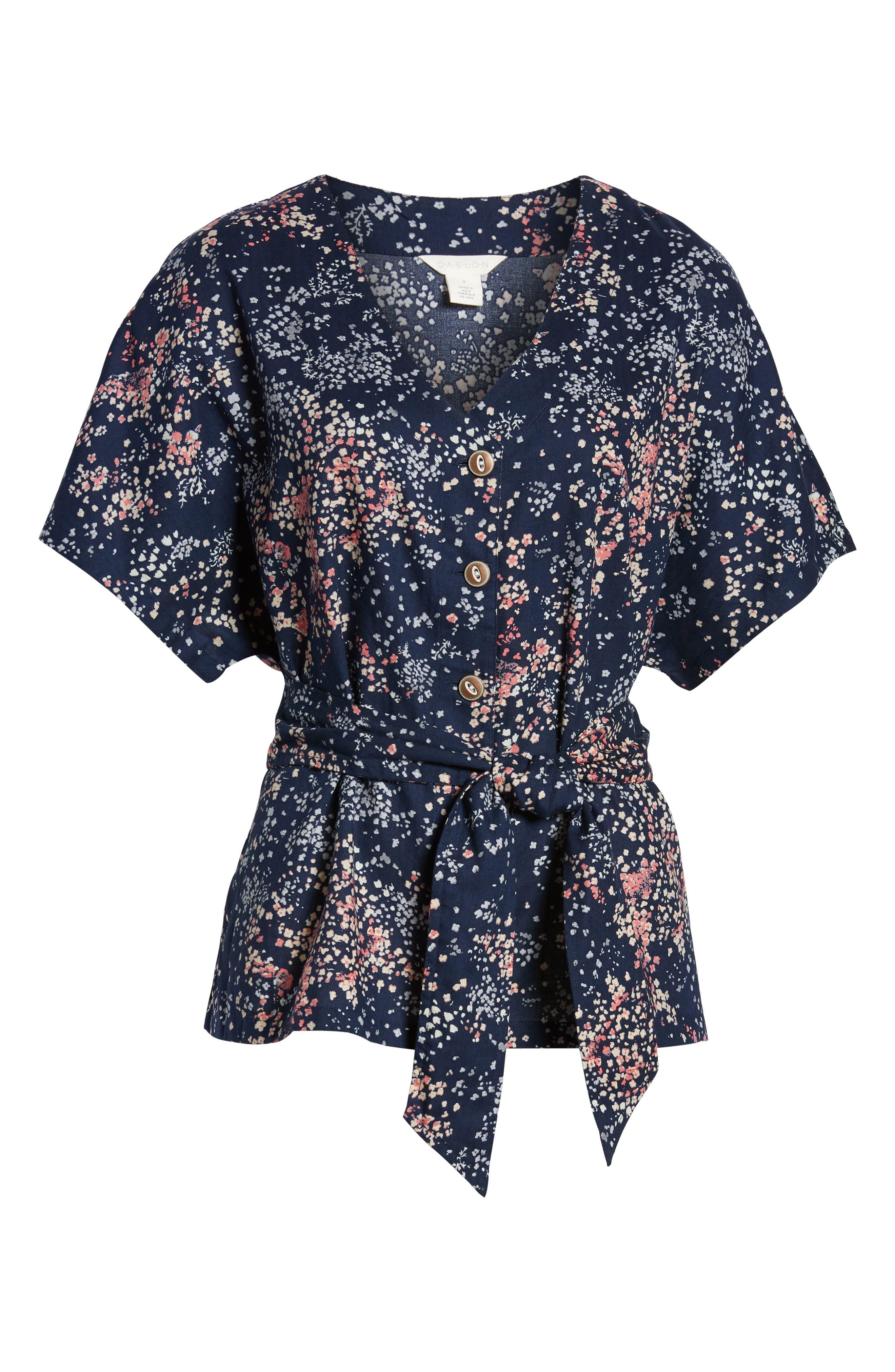 CASLON<SUP>®</SUP>, Button-Up Tie Front Blouse, Alternate thumbnail 6, color, NAVY LITTLE FLOWERS