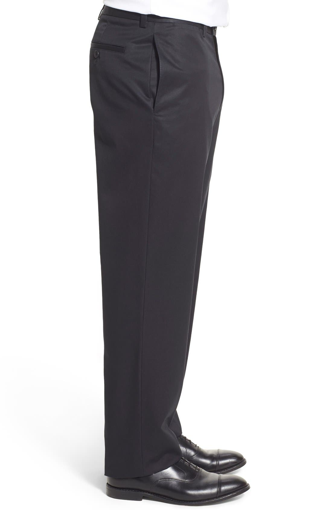 NORDSTROM MEN'S SHOP, Smartcare<sup>™</sup> Classic Supima<sup>®</sup> Cotton Flat Front Trousers, Alternate thumbnail 5, color, BLACK CAVIAR