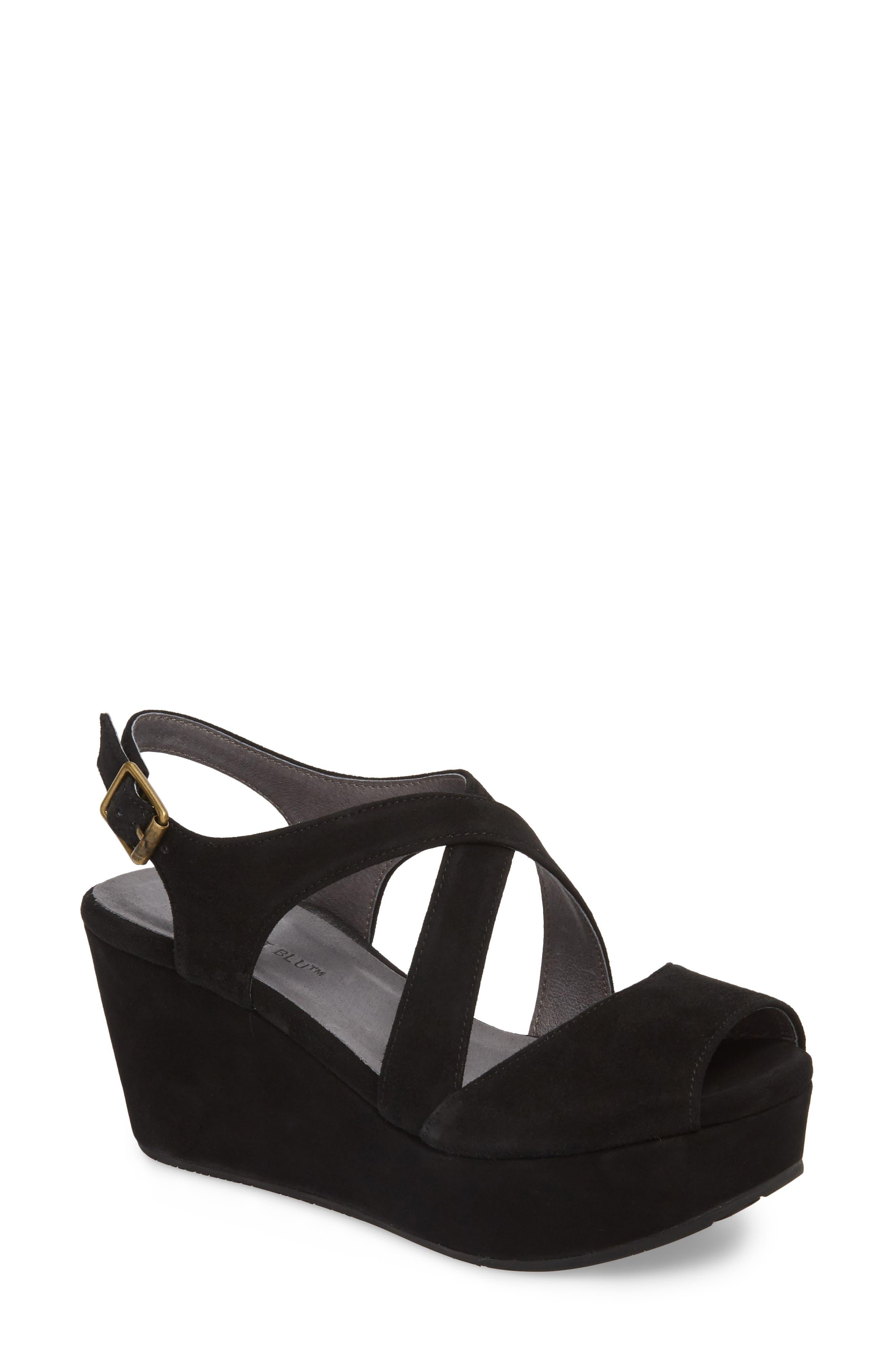 CHOCOLAT BLU, Winnie Wedge Sandal, Main thumbnail 1, color, BLACK SUEDE