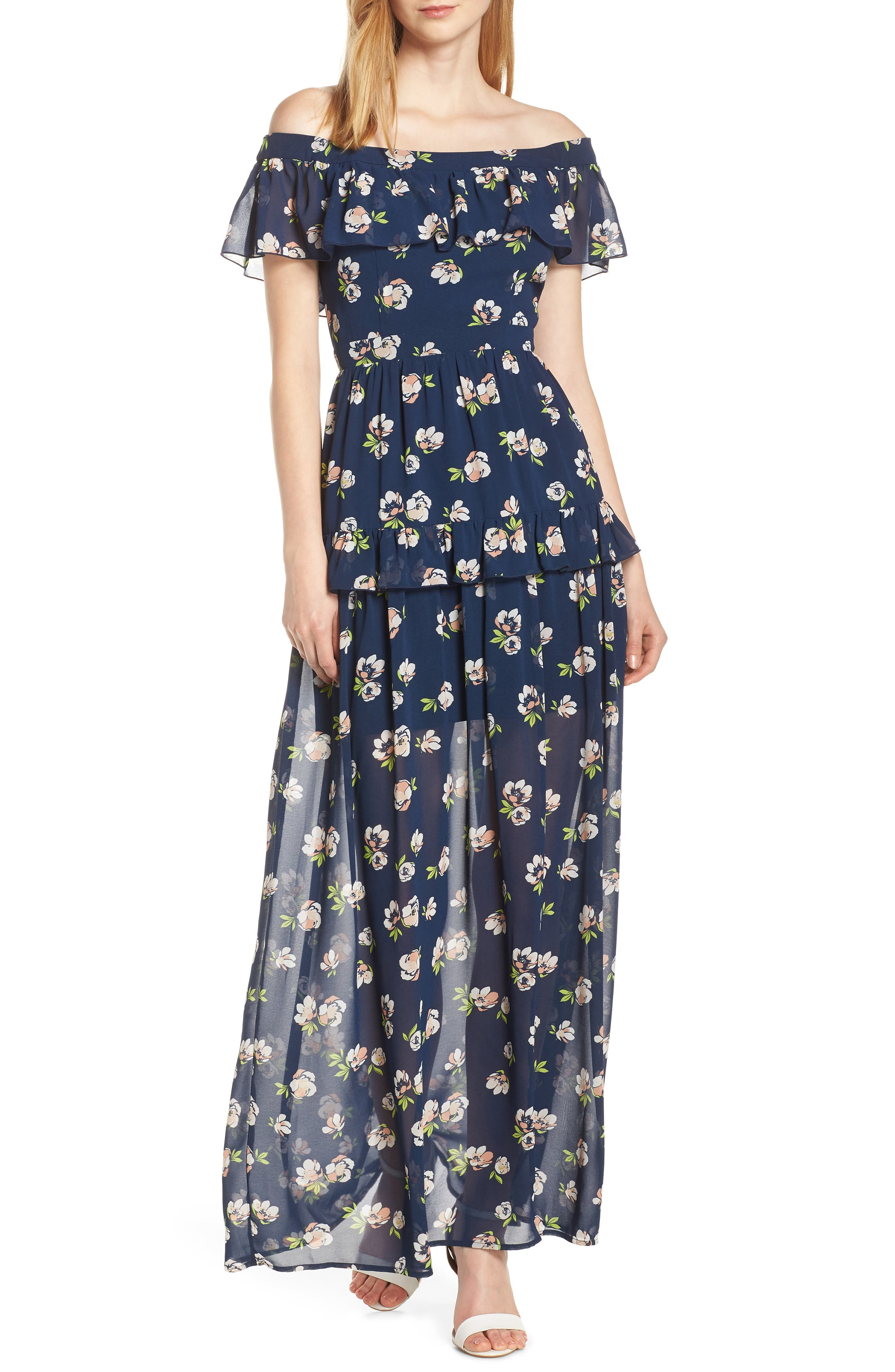 CHARLES HENRY, Off the Shoulder Ruffle Maxi Dress, Main thumbnail 1, color, NAVY PEACH FLORAL