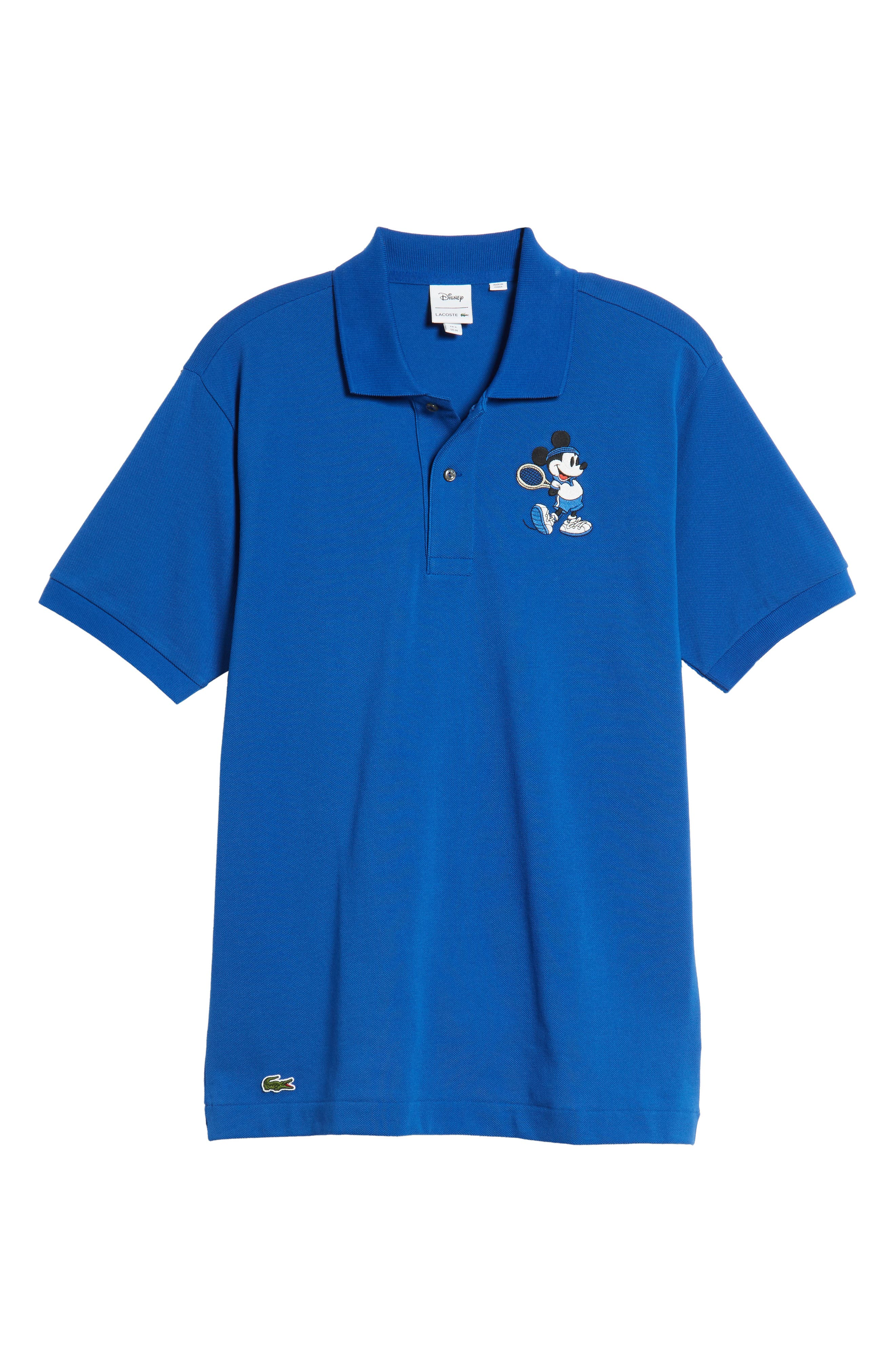 LACOSTE, Disney Mickey Mouse Regular Fit Polo, Alternate thumbnail 6, color, TMC STEAMER/ STEAMER