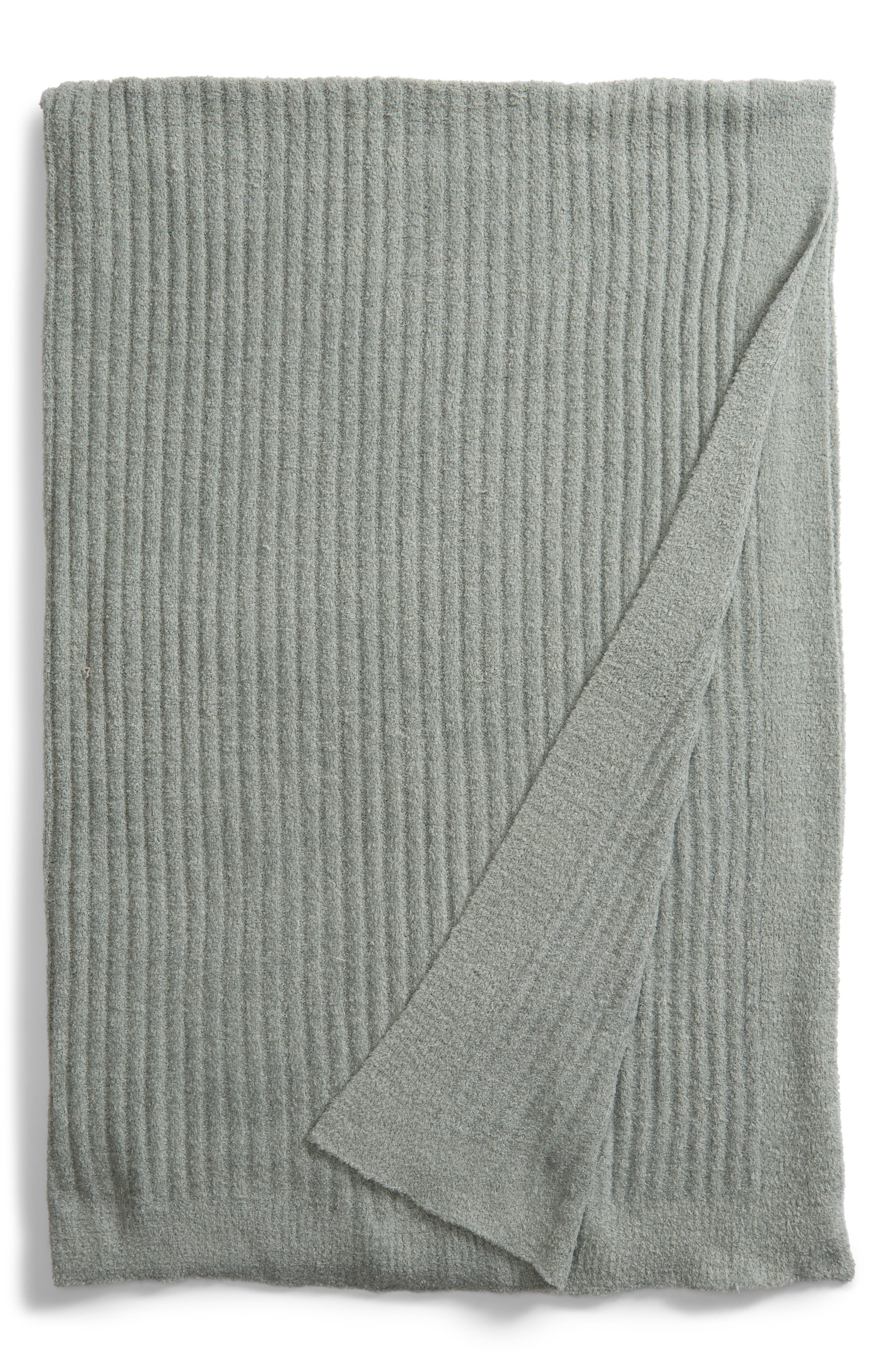 BAREFOOT DREAMS<SUP>®</SUP>, Cozychic<sup>®</sup> Ribbed Throw Blanket, Main thumbnail 1, color, ICEBERG GREEN