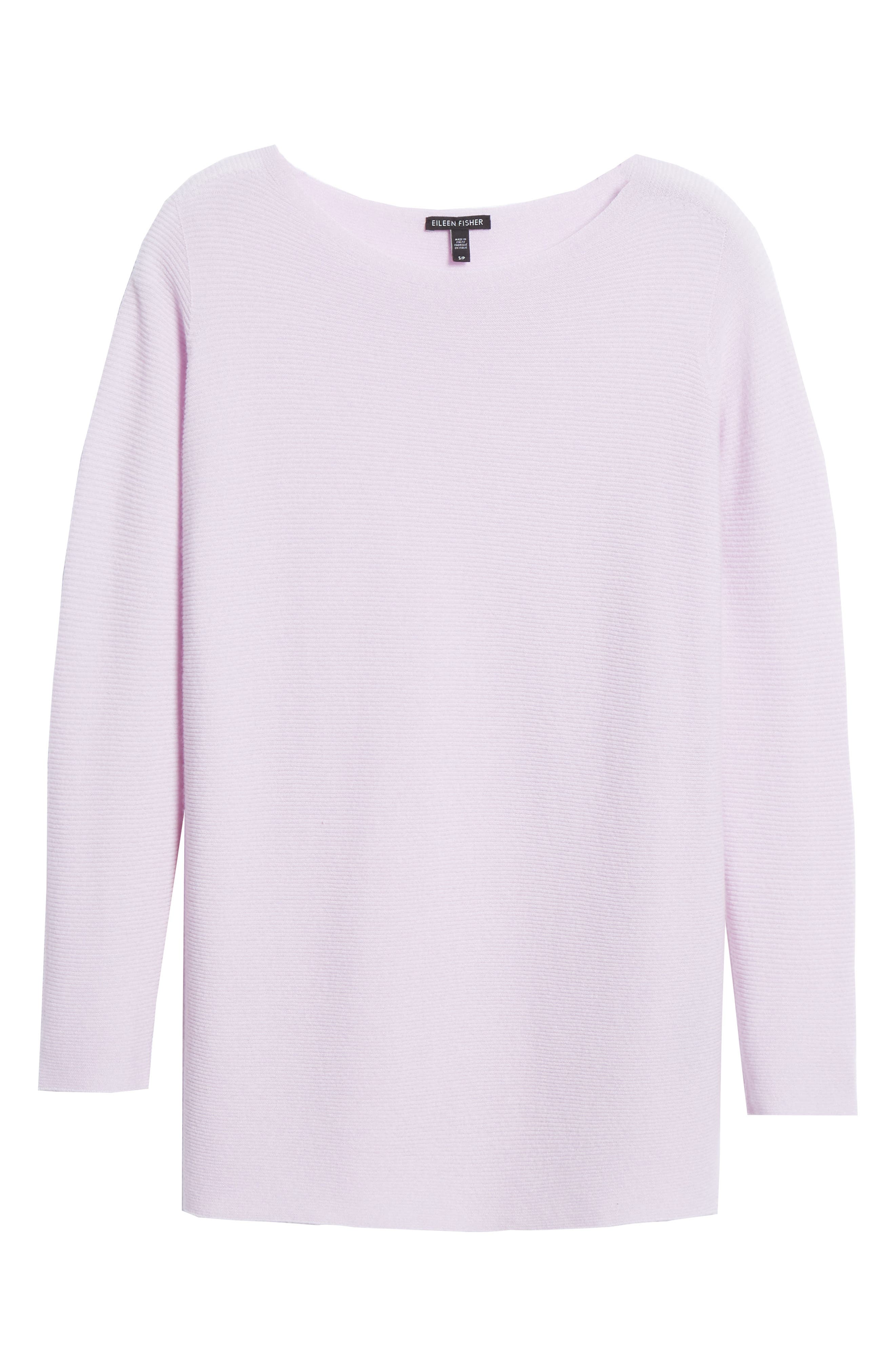 EILEEN FISHER, Bateau Neck Cashmere Tunic Sweater, Alternate thumbnail 6, color, MALLOW