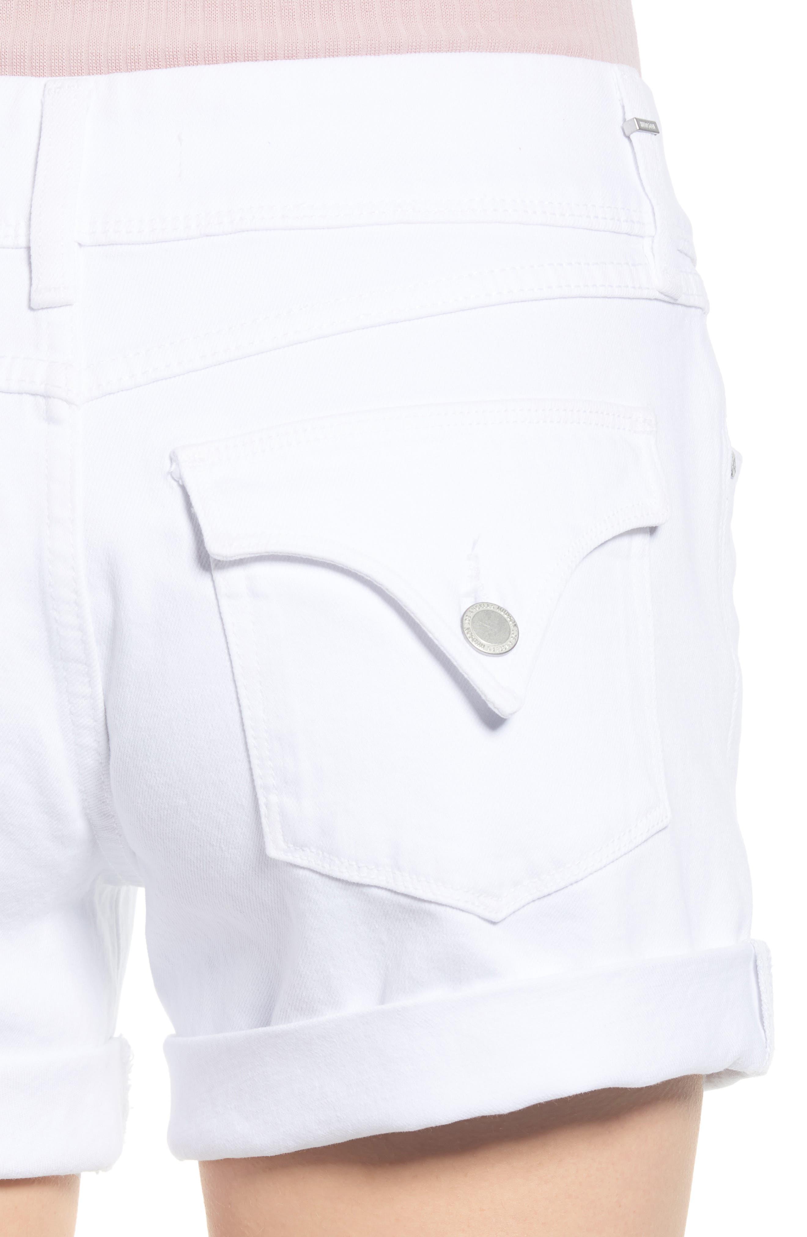 HUDSON JEANS, Croxley Cuff Denim Shorts, Alternate thumbnail 5, color, WHITE 2