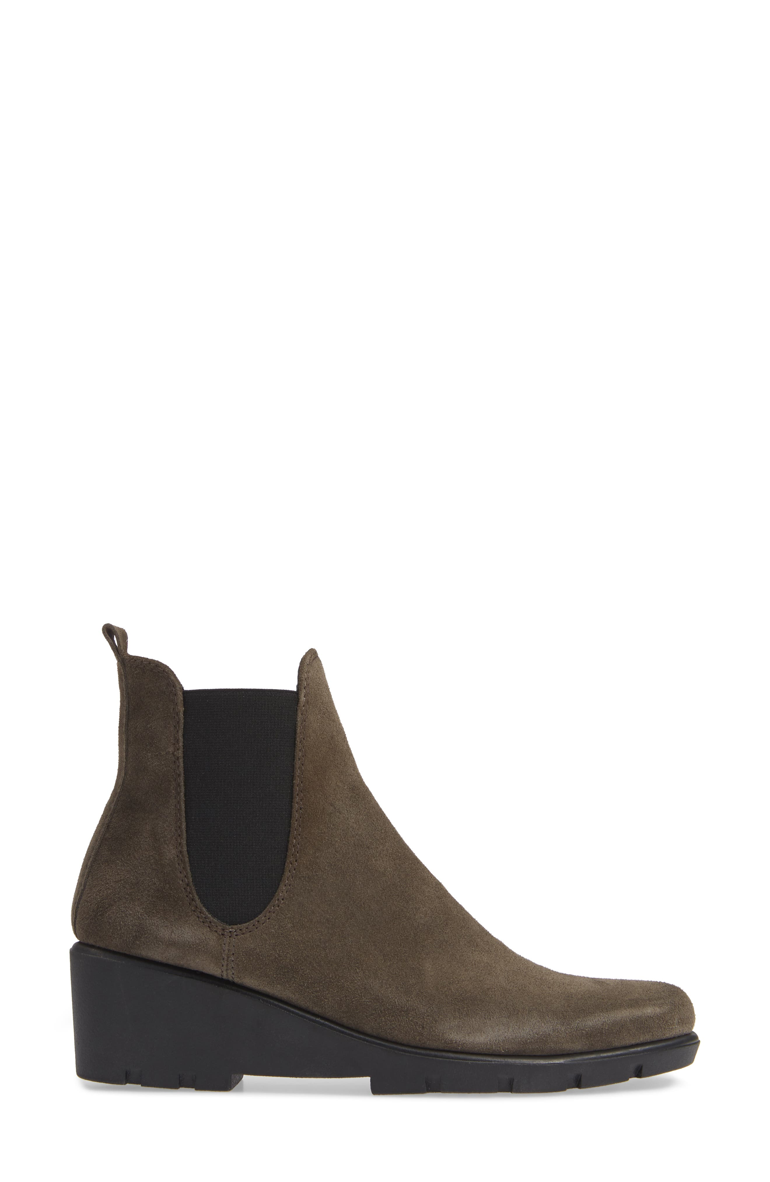 THE FLEXX, Slimmer Chelsea Wedge Boot, Alternate thumbnail 3, color, BROWN SUEDE