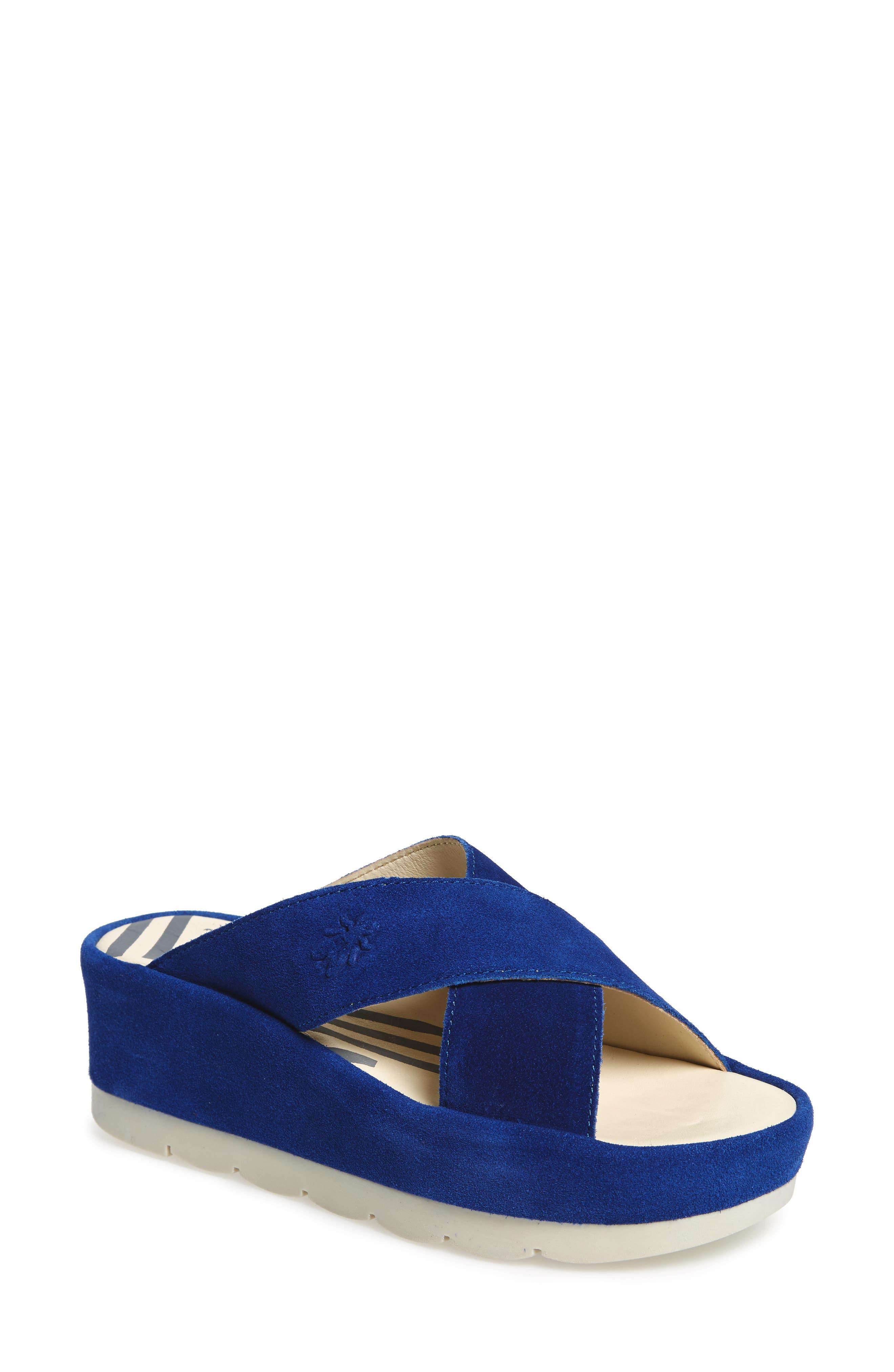 FLY LONDON, Begs Platform Slide Sandal, Main thumbnail 1, color, BLUE SUEDE