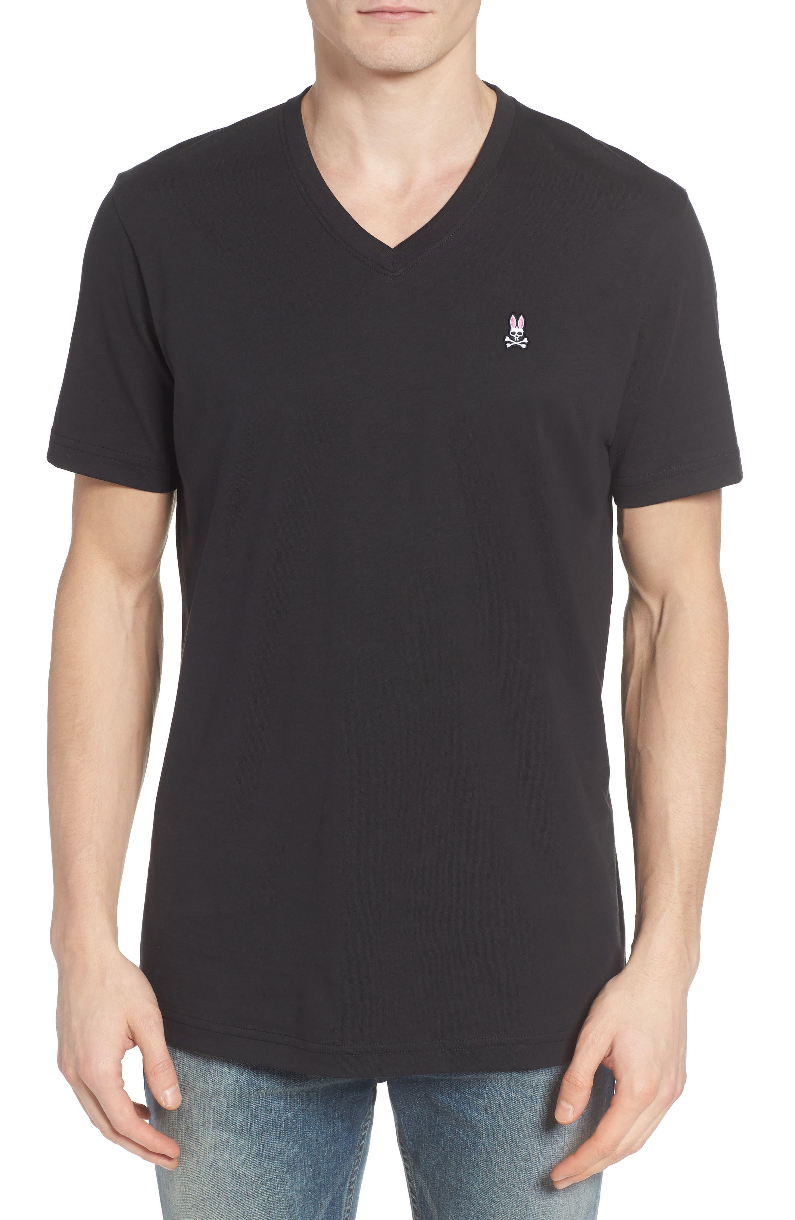 PSYCHO BUNNY, V-Neck T-Shirt, Main thumbnail 1, color, BLACK
