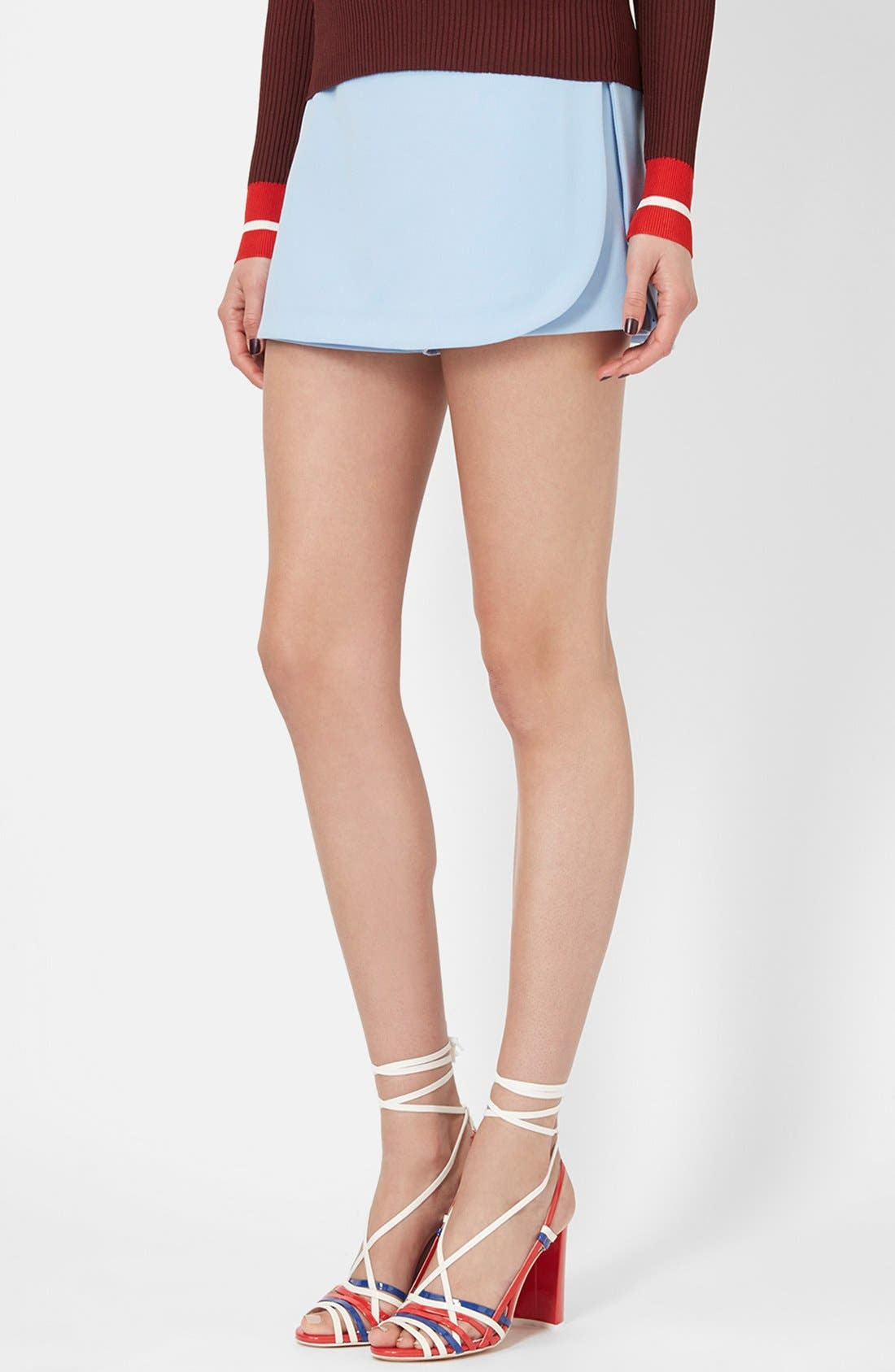 TOPSHOP UNIQUE, Tailored Overlay Skort, Main thumbnail 1, color, 400