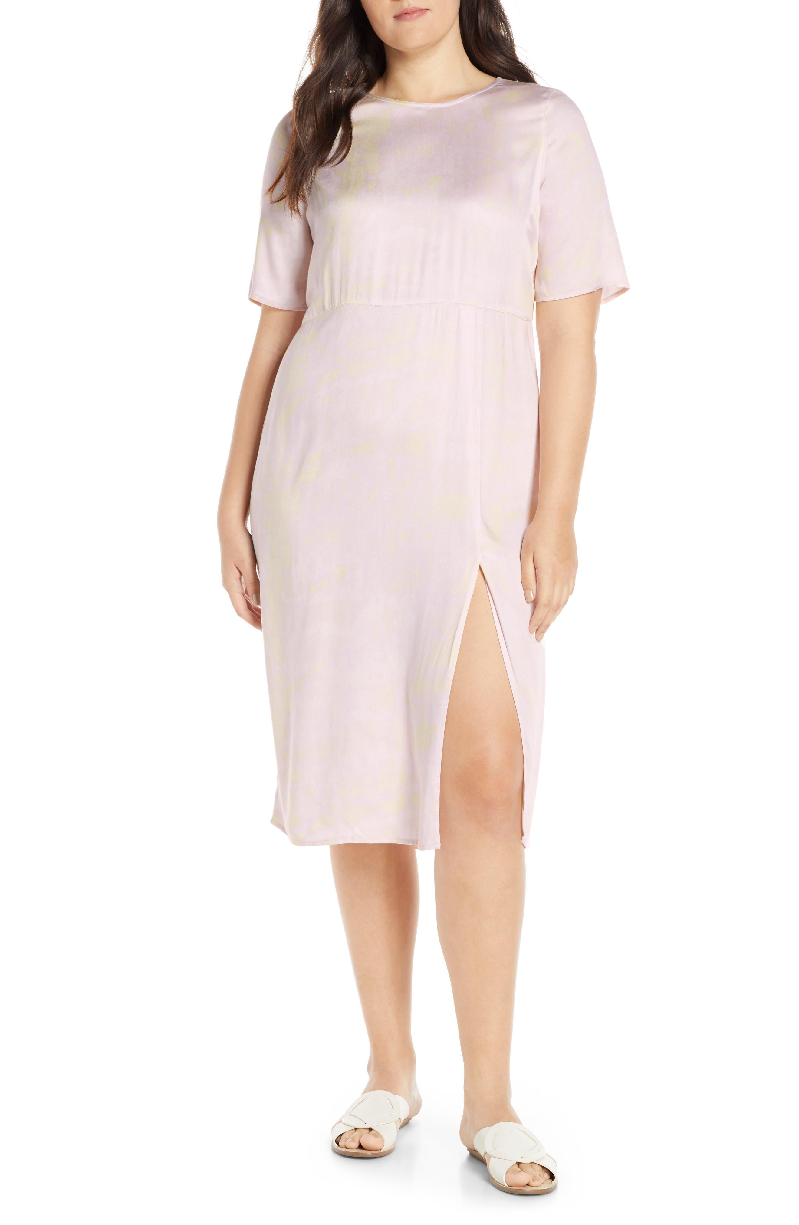 SOMETHING NAVY, Front Slit Midi Dress, Alternate thumbnail 2, color, 680