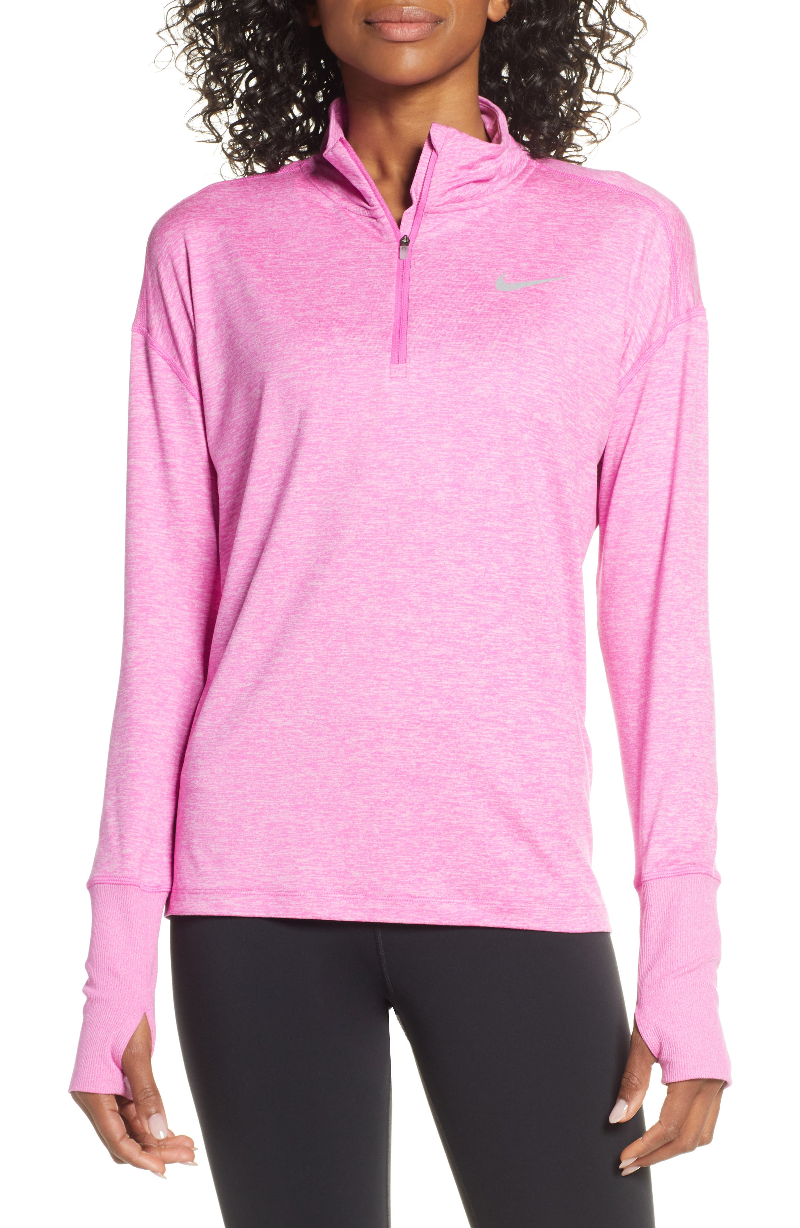 NIKE Element Long-Sleeve Running Top, Main, color, ACTIVE FUCHSIA/ PINK RISE
