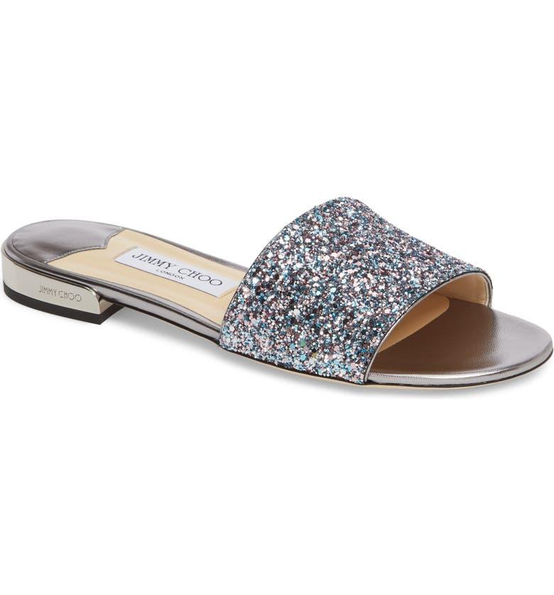JIMMY CHOO Joni Embellished Slide Sandal, Main, color, BLUSH SILVER