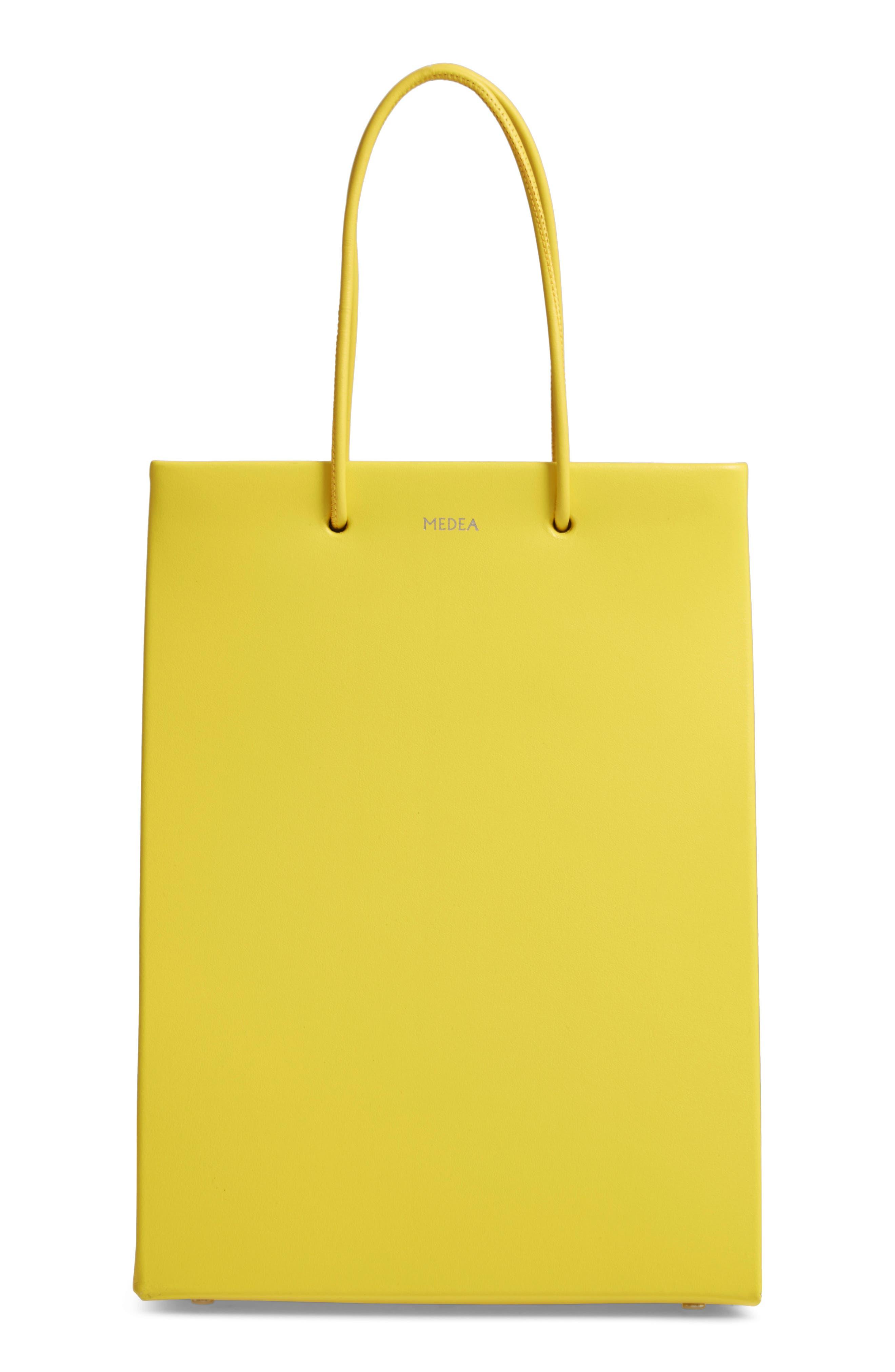 MEDEA, Prima Tall Calfskin Leather Bag, Main thumbnail 1, color, YELLOW