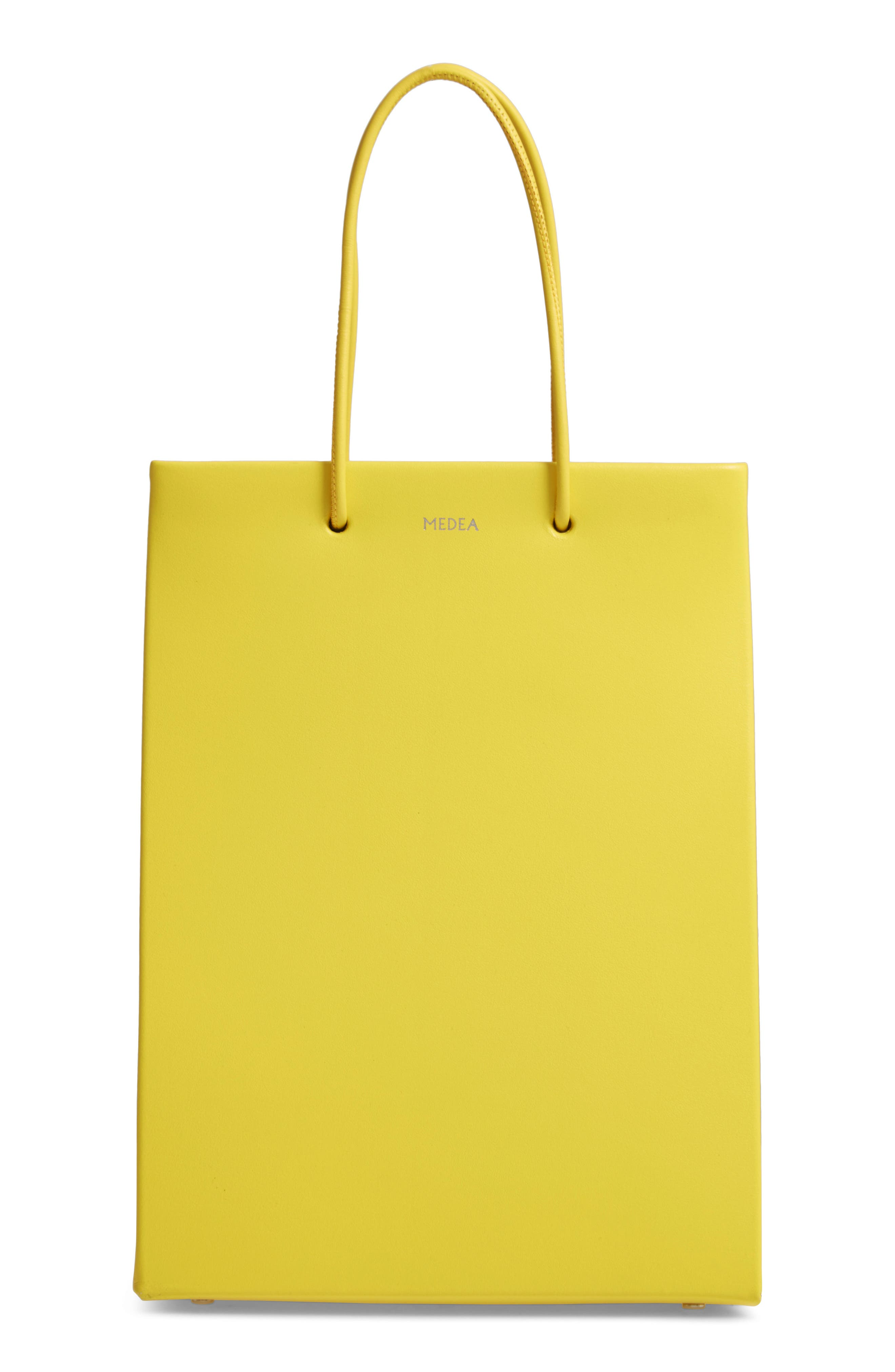 MEDEA Prima Tall Calfskin Leather Bag, Main, color, YELLOW
