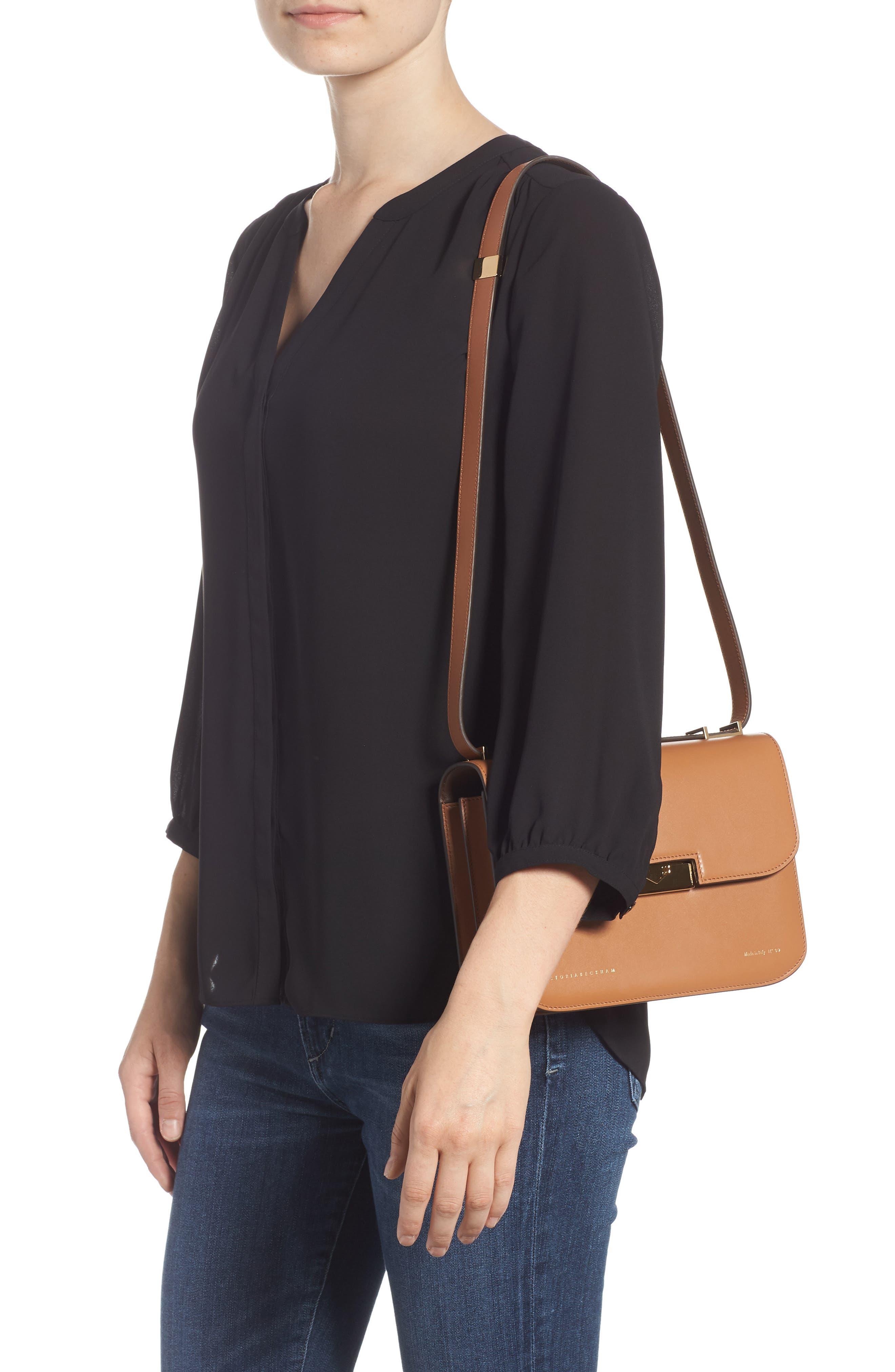VICTORIA BECKHAM, Eva Calfskin Leather Shoulder Bag, Alternate thumbnail 2, color, CAMEL