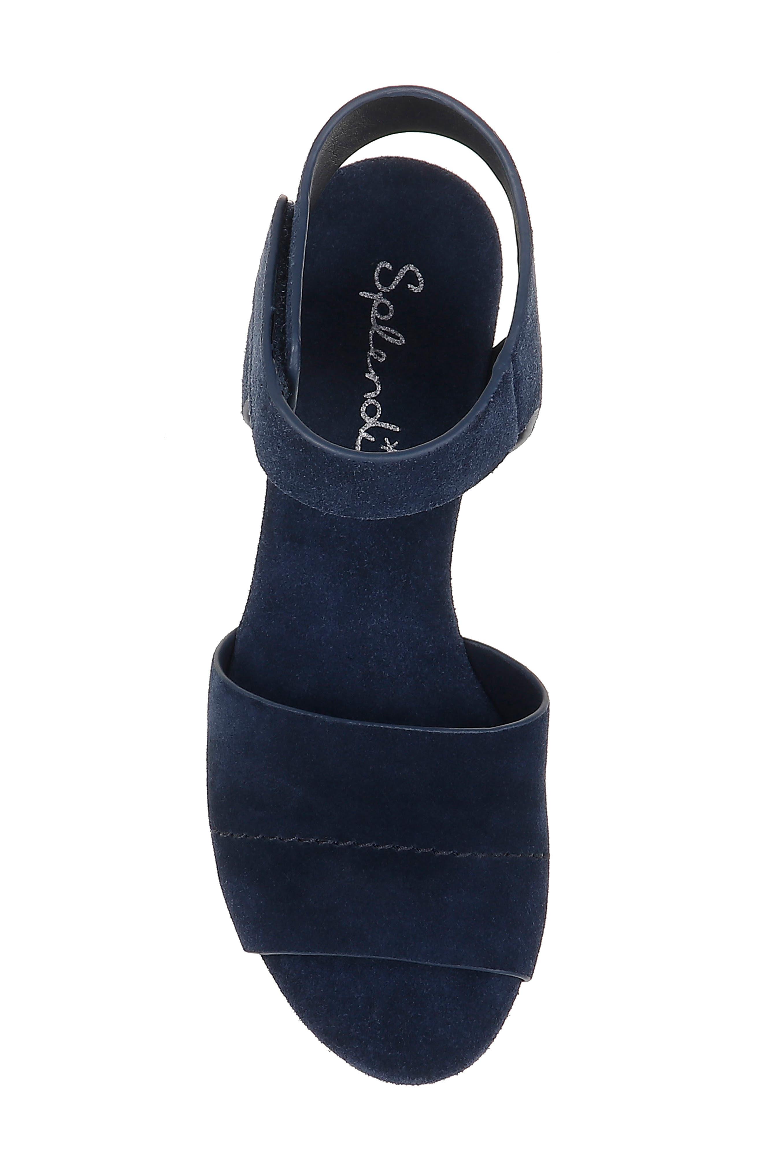 SPLENDID, Thatcher Platform Ankle Strap Sandal, Alternate thumbnail 5, color, NAVY SUEDE