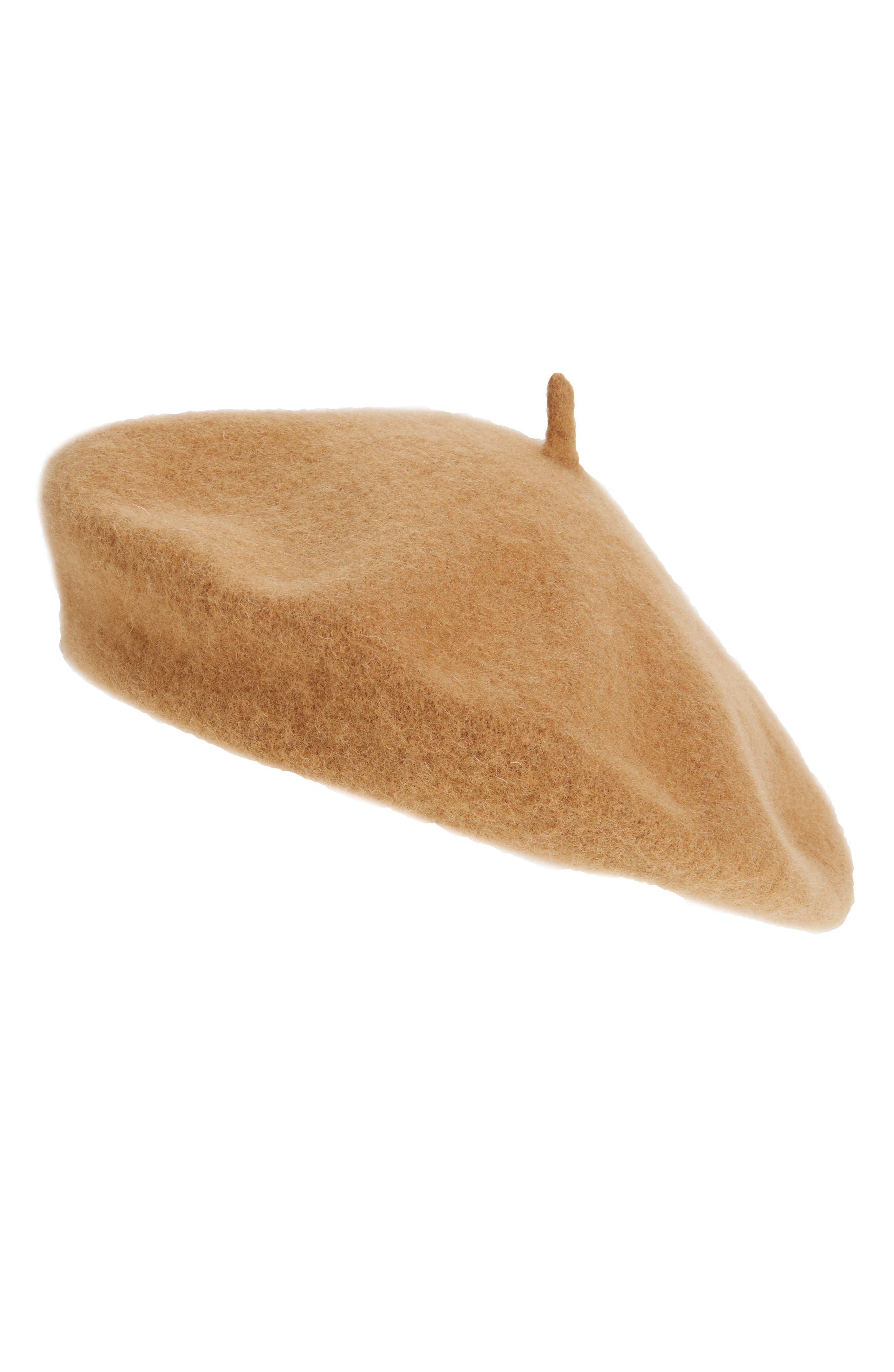 HALOGEN<SUP>®</SUP> Wool Blend Beret, Main, color, TAN CAMEL HEATHER