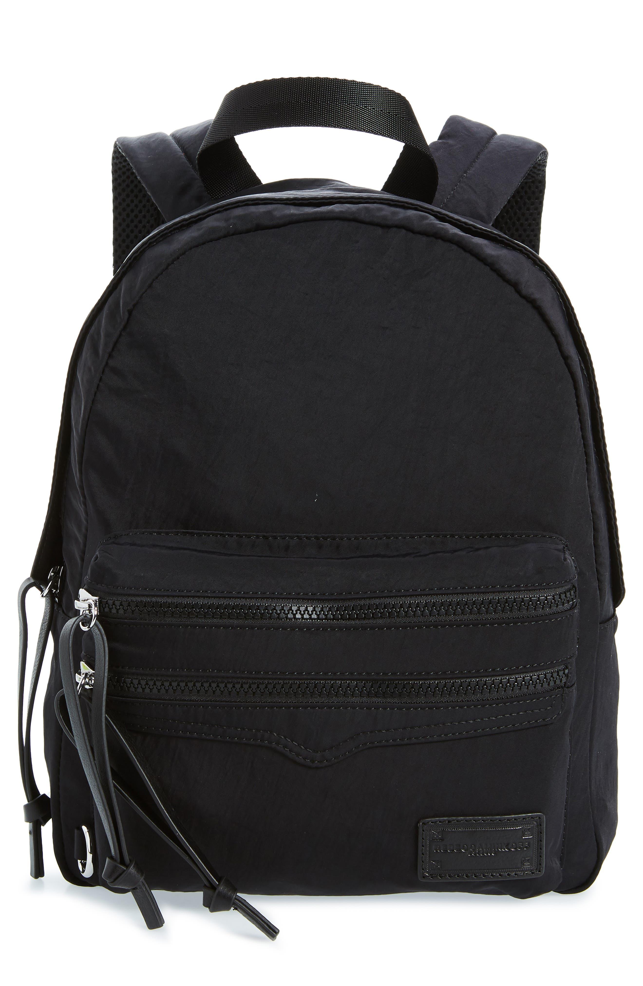 REBECCA MINKOFF Nylon Backpack, Main, color, BLACK