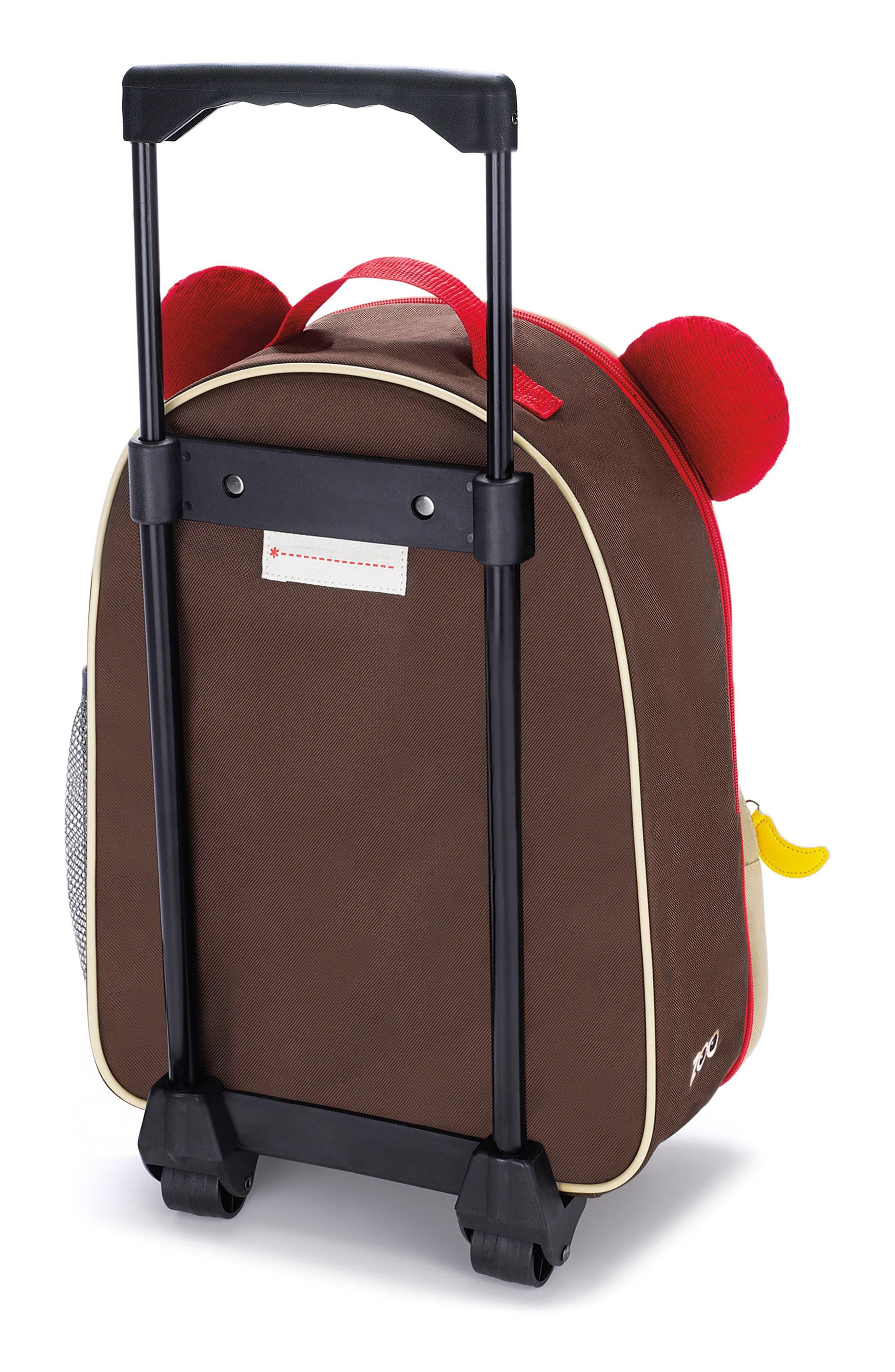 SKIP HOP, Monkey Rolling Luggage, Alternate thumbnail 3, color, BROWN