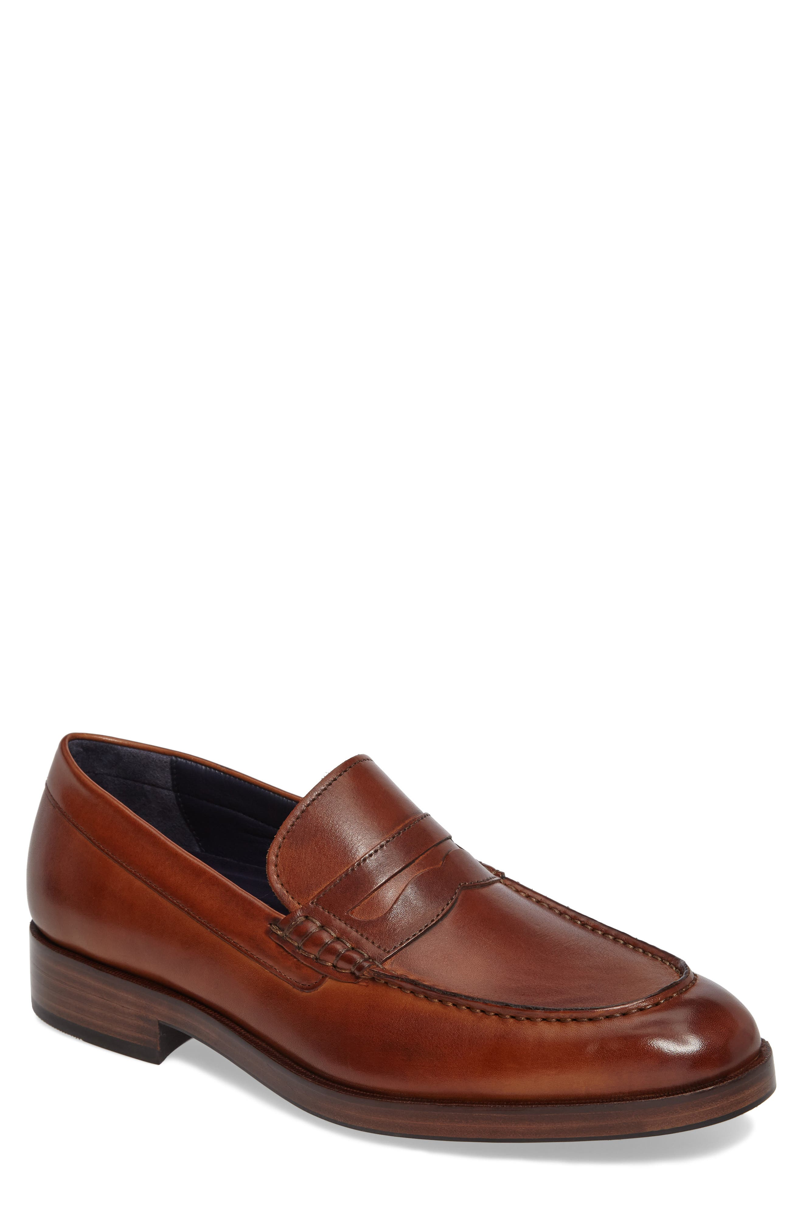 COLE HAAN, Harrison Grand Penny Loafer, Main thumbnail 1, color, COGNAC/ DARK NATURAL LEATHER