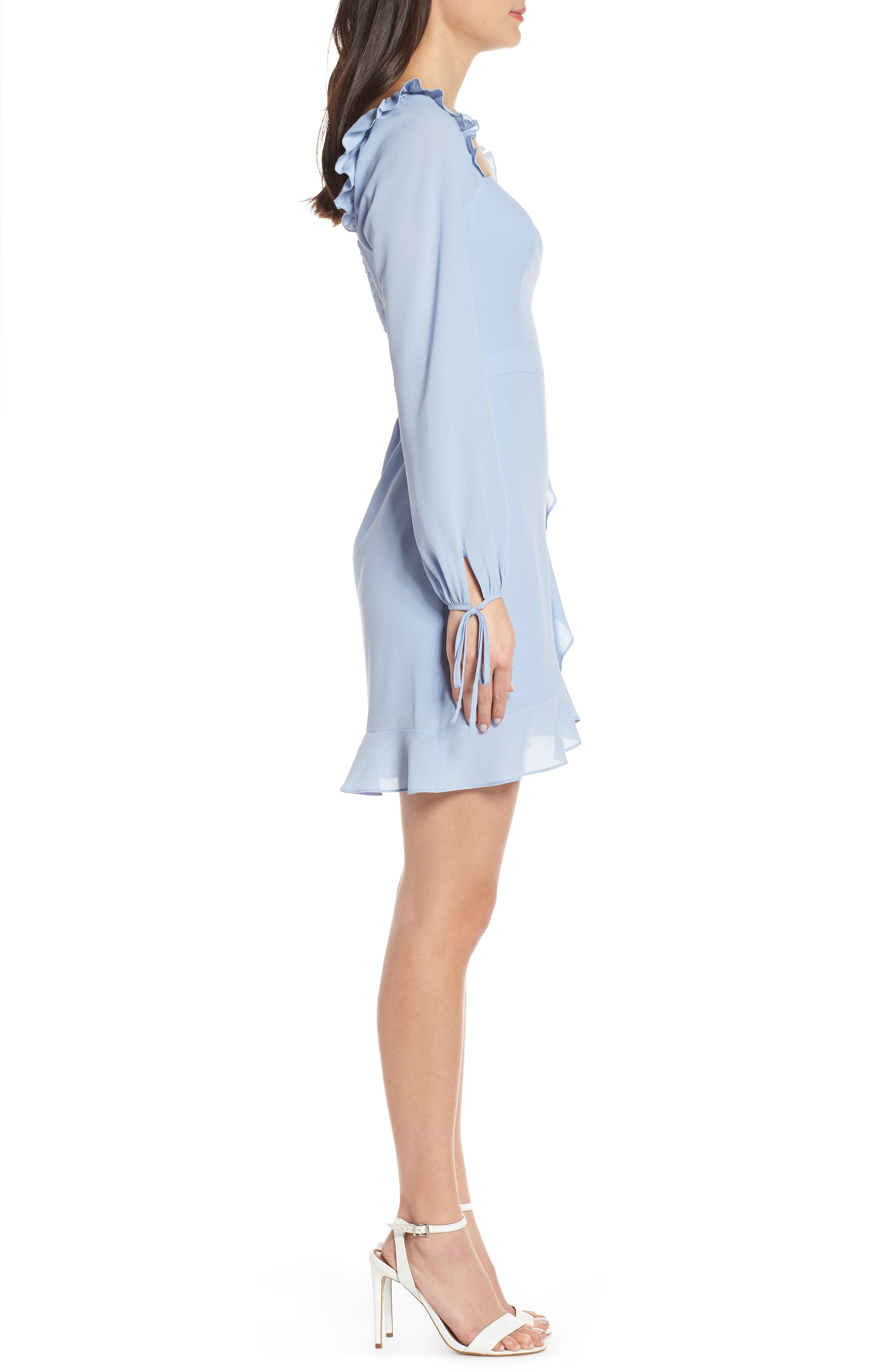 ALI & JAY, In Bloom Georgette Asymmetrical Dress, Alternate thumbnail 4, color, CHAMBRAY
