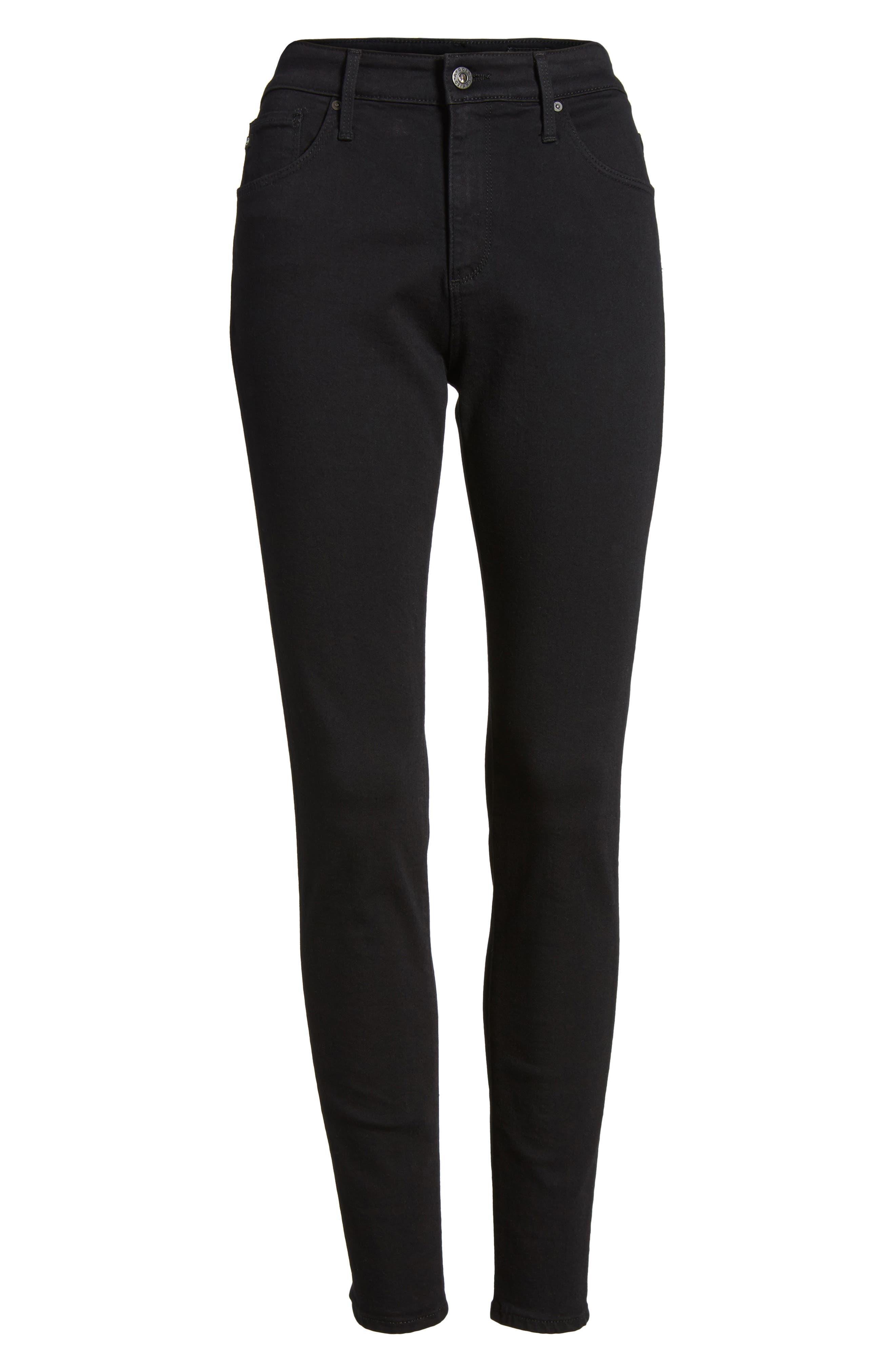 AG, Farrah High Waist Ankle Skinny Jeans, Alternate thumbnail 7, color, SUPER BLACK