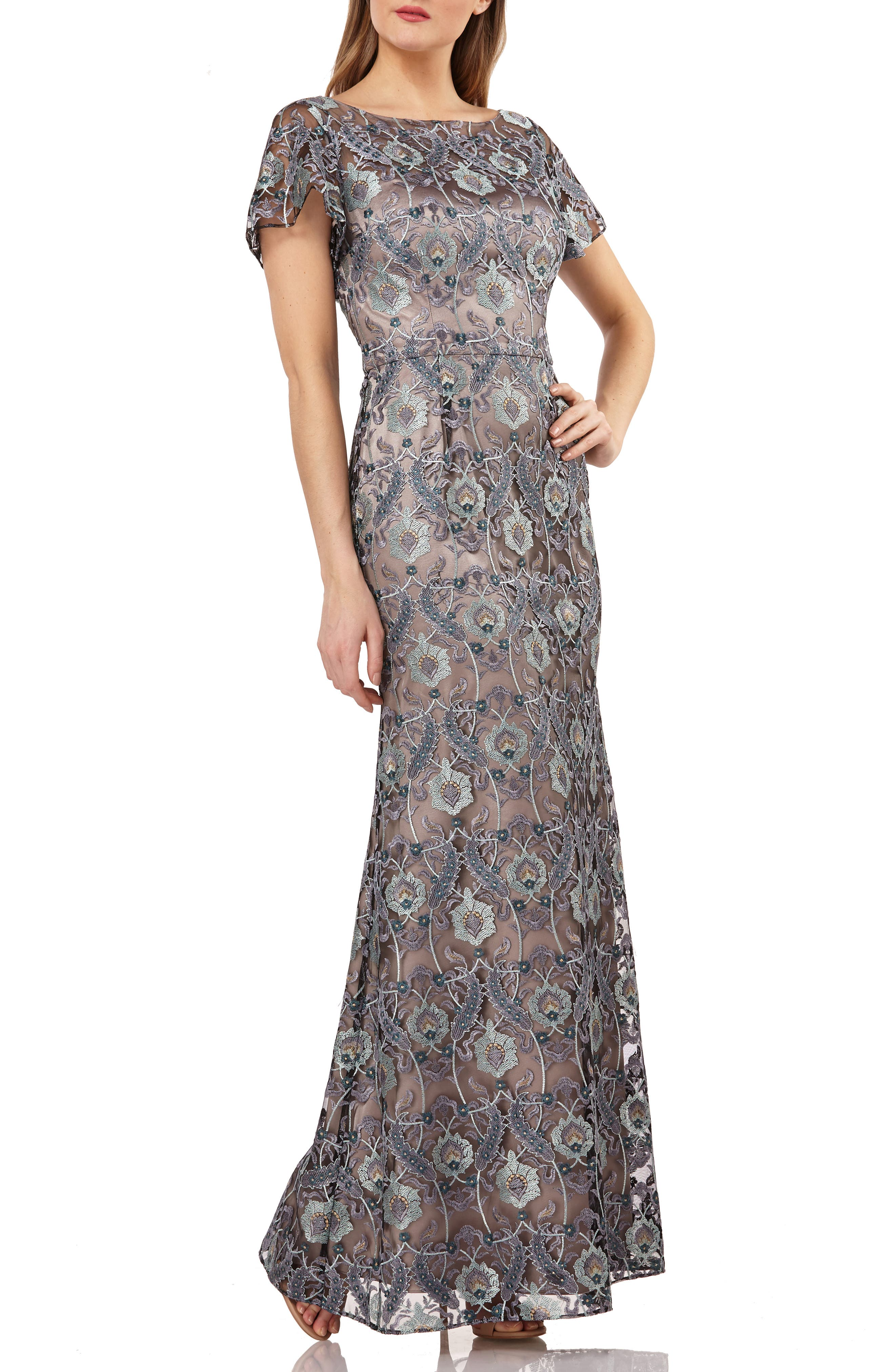 Js Collection Embroidered Overlay Illusion Lace Evening Dress, Grey