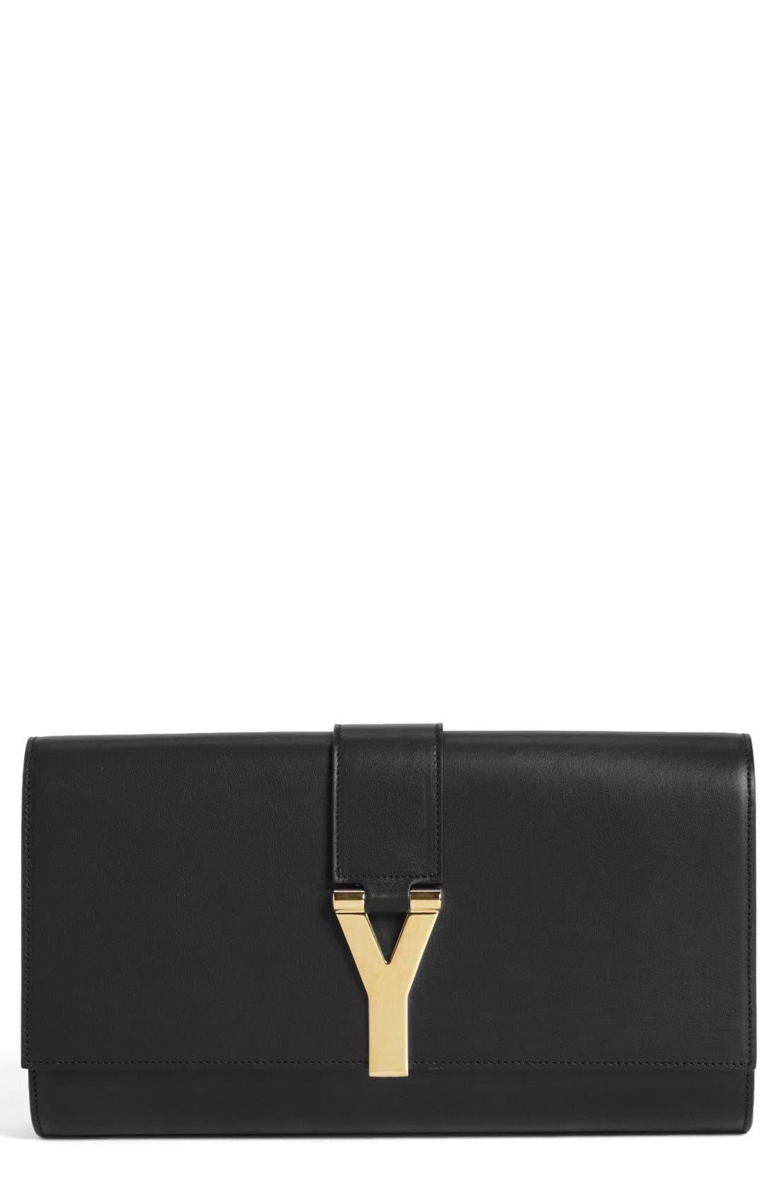 SAINT LAURENT 'Y' Leather Clutch, Main, color, 001