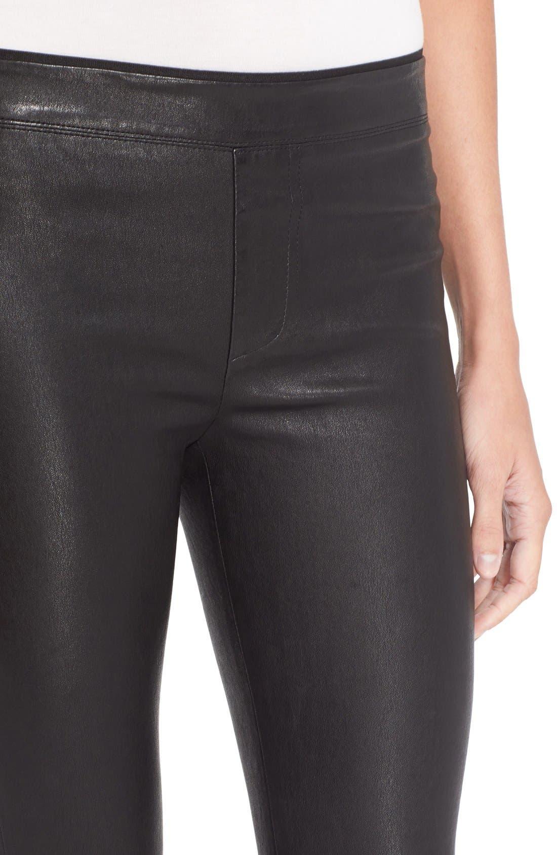 HELMUT LANG, Stretch Lambskin Leather Leggings, Alternate thumbnail 12, color, BLACK
