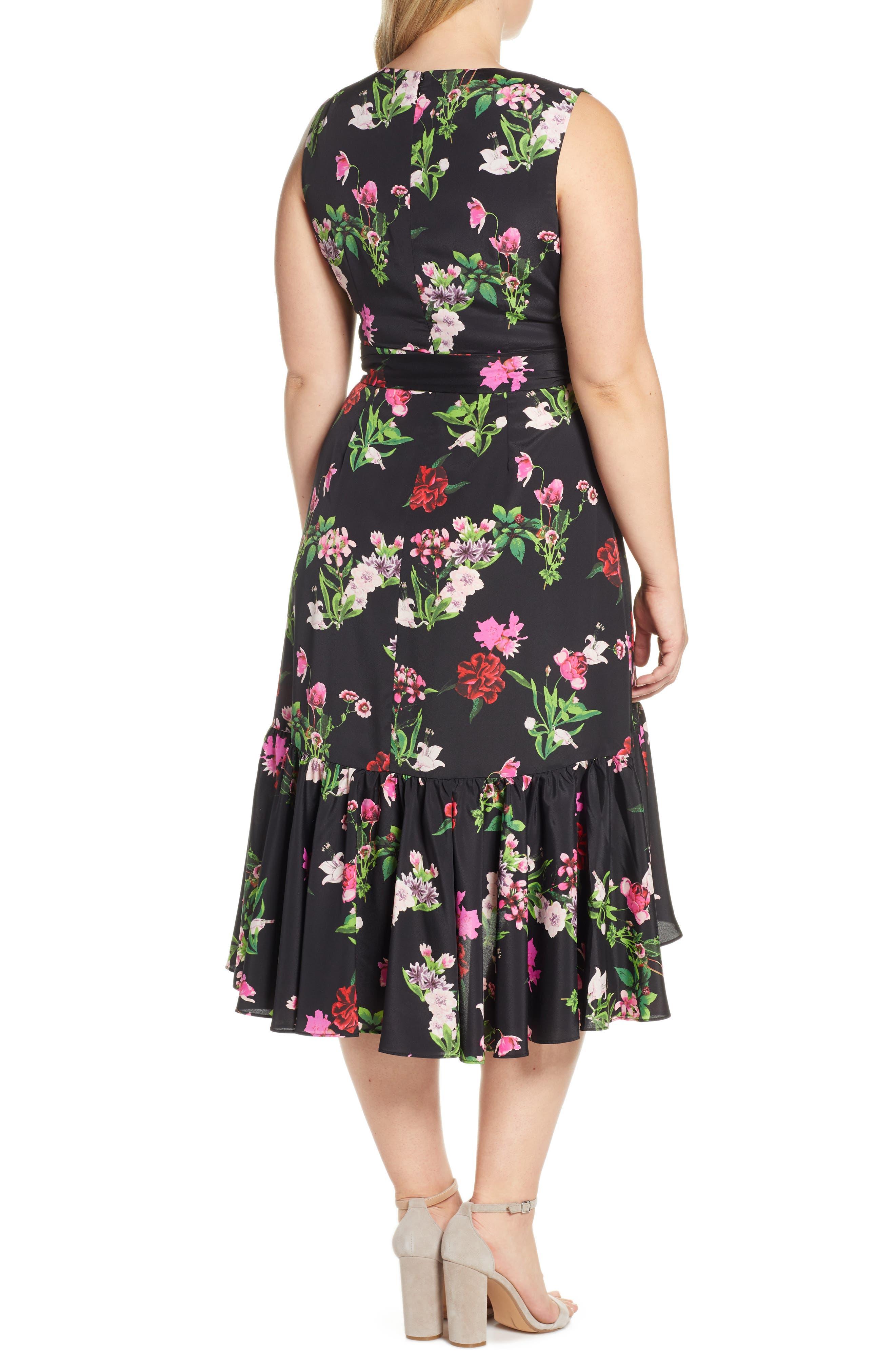 ELIZA J, Ruffle Hem Faux Wrap Dress, Alternate thumbnail 9, color, BLACK
