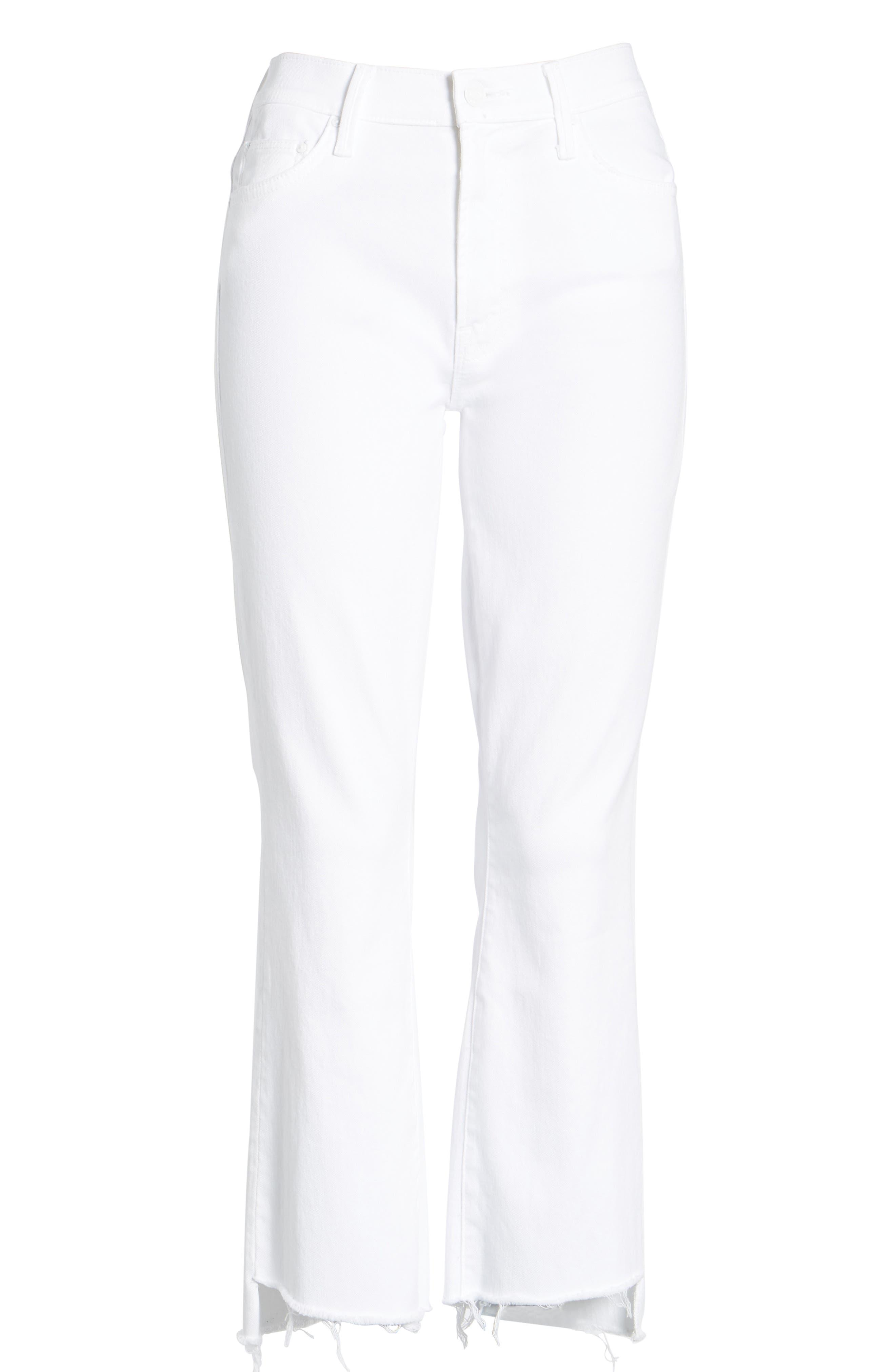 MOTHER, The Insider Step Hem Crop Bootcut Jeans, Alternate thumbnail 6, color, 100