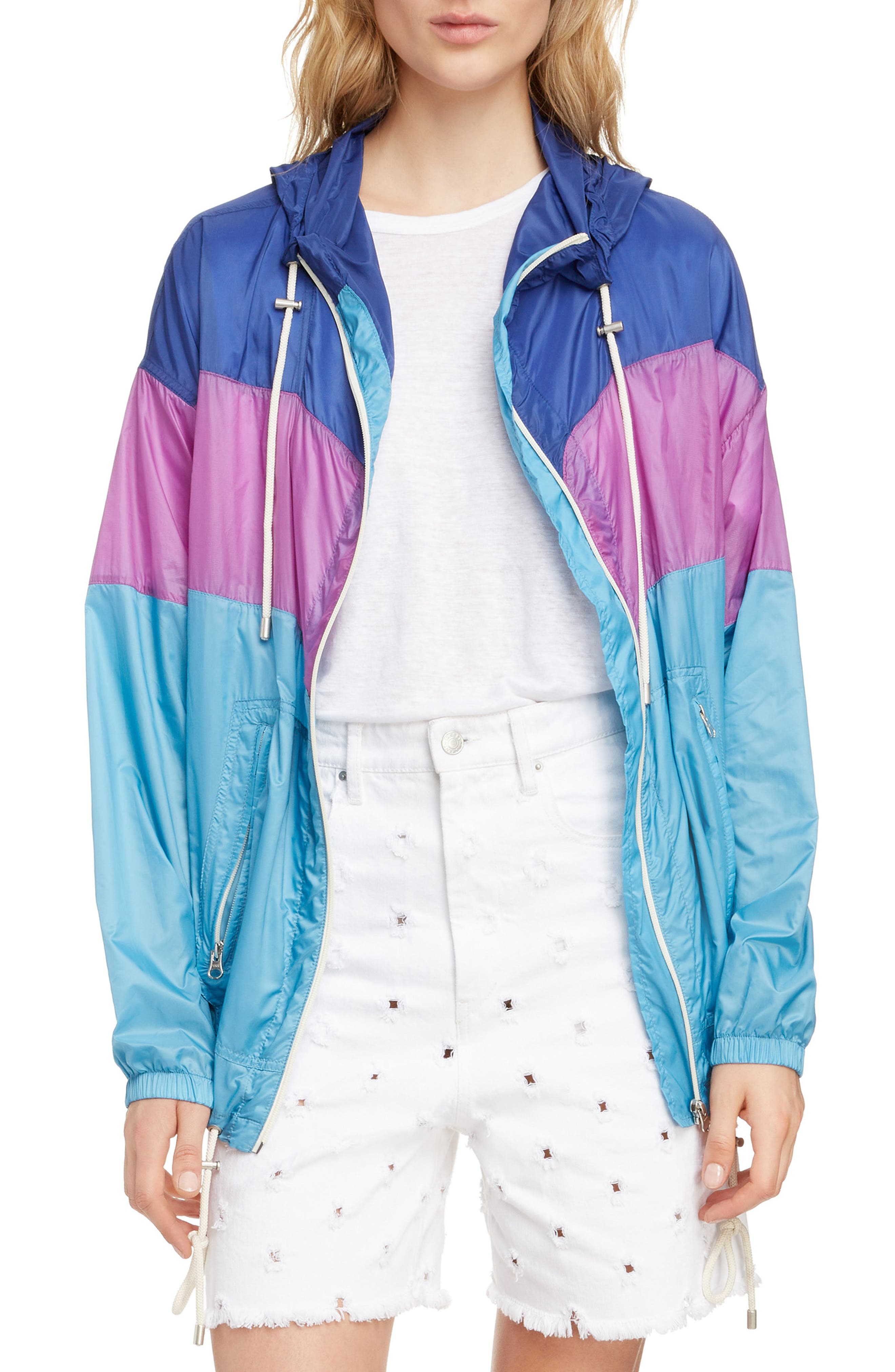 ISABEL MARANT ÉTOILE, Kyriel Colorblock Hooded Jacket, Main thumbnail 1, color, ELECTRIC BLUE/ VIOLET