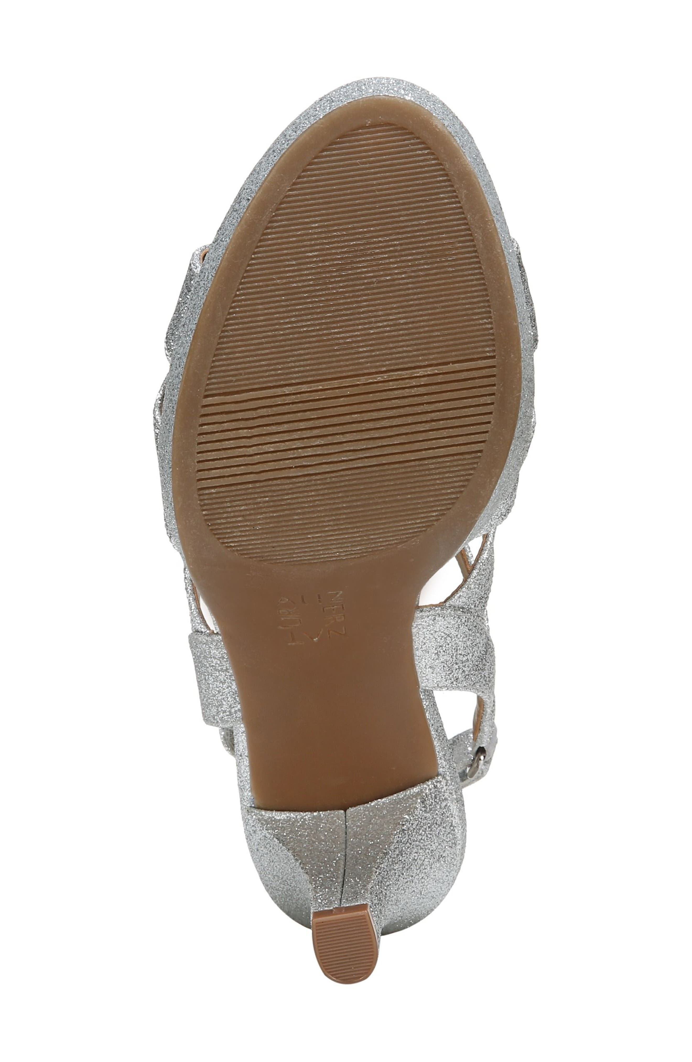 NATURALIZER, 'Pressley' Slingback Platform Sandal, Alternate thumbnail 6, color, SILVER GLITTER FAUX LEATHER