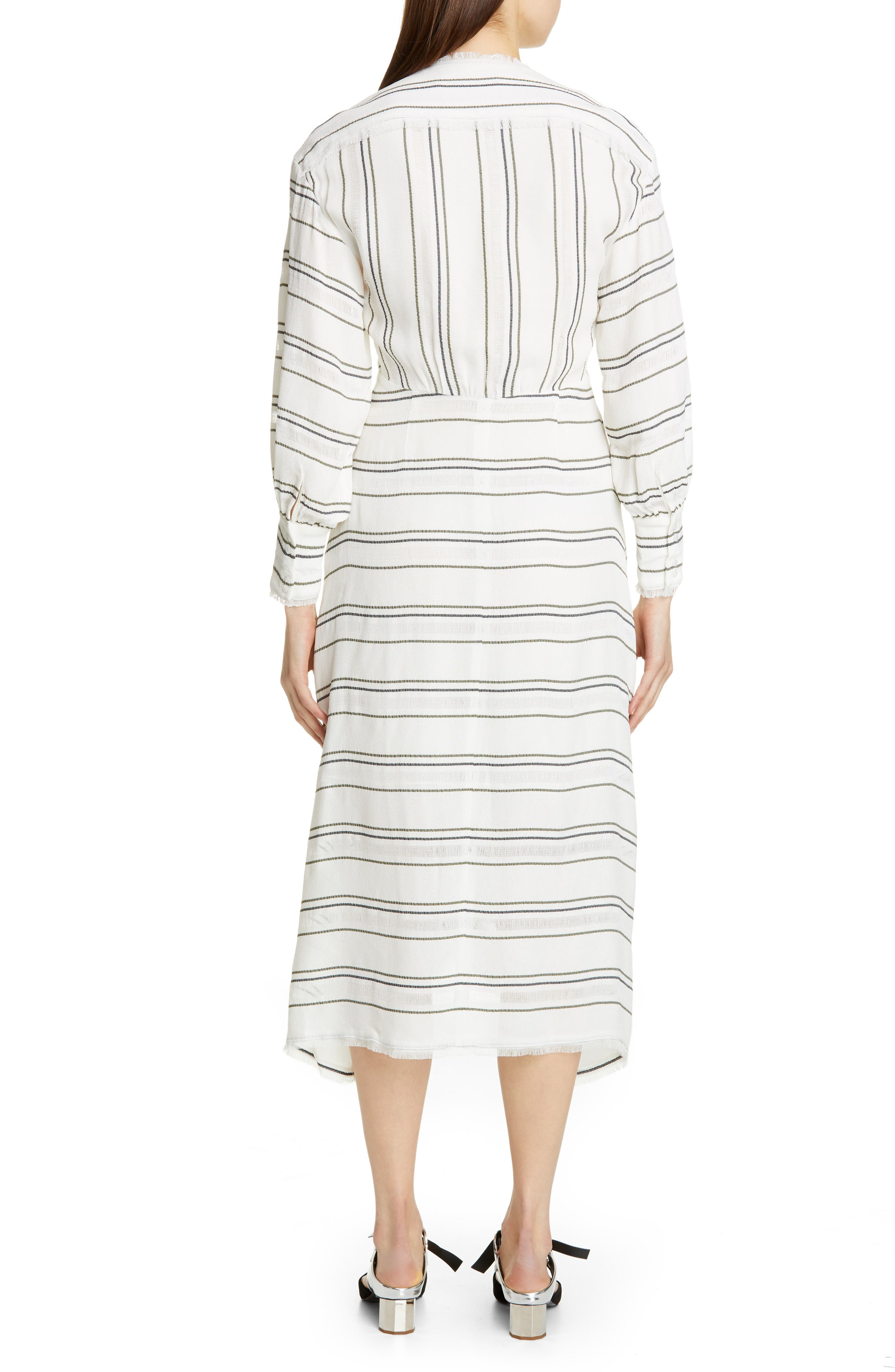 PROENZA SCHOULER, Tie Front Stripe Crepe Dress, Alternate thumbnail 2, color, WHITE